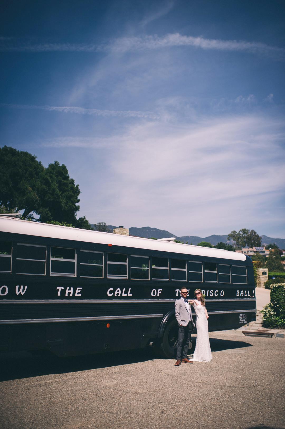 www.santabarbarawedding.com | Sarah Katherine Davis Photography | Santa Barbara Museum of Natural History | Wild Heart Events | Bus to the Ceremony