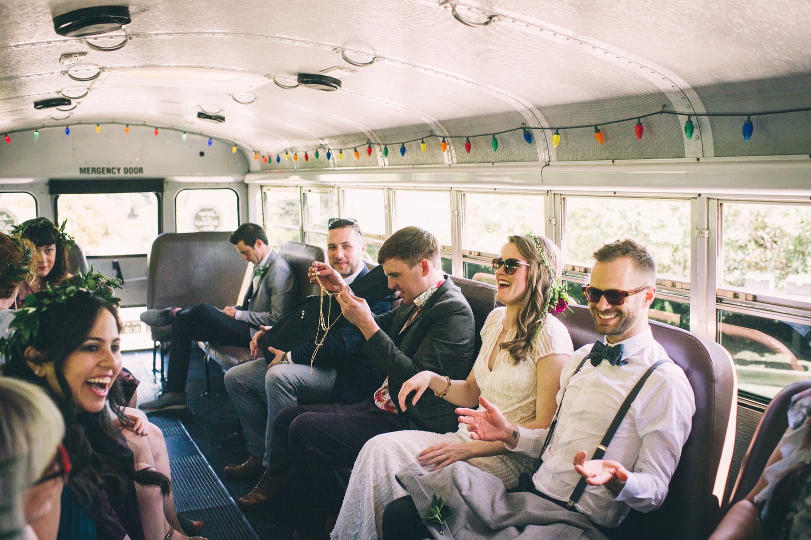 www.santabarbarawedding.com | Sarah Katherine Davis Photography | Santa Barbara Museum of Natural History | Wild Heart Events | Bridal Party in Bus