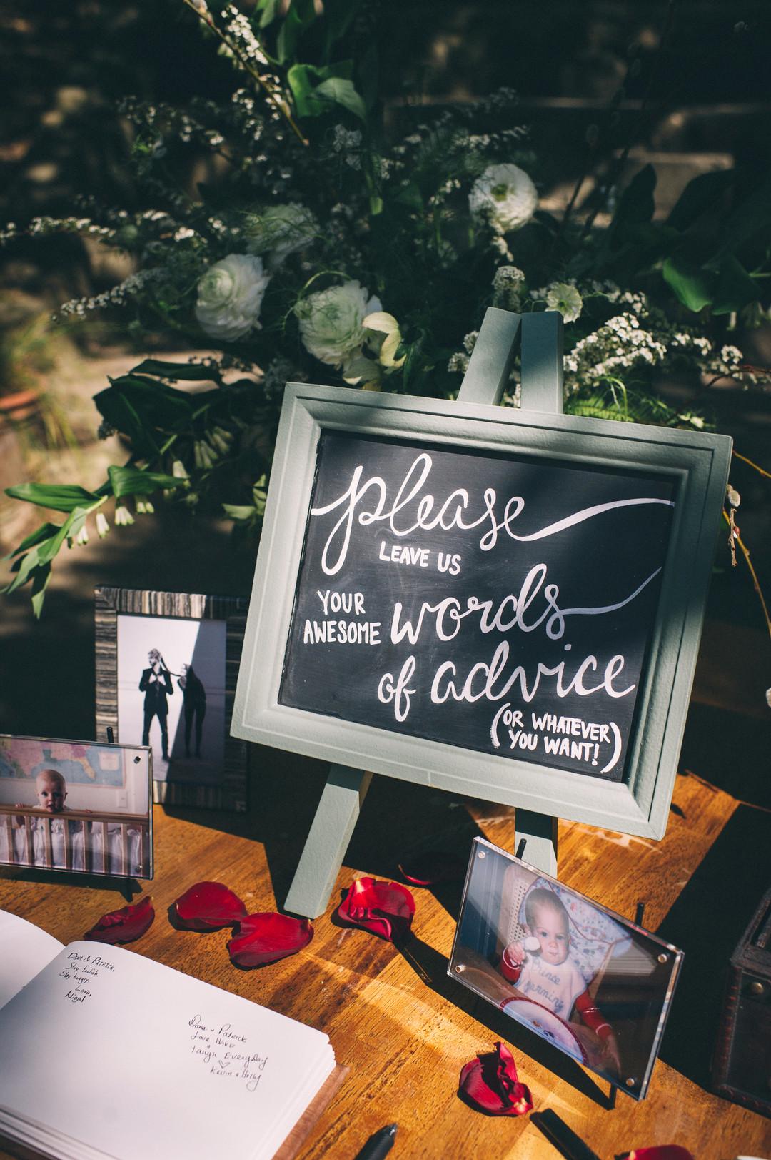 www.santabarbarawedding.com | Sarah Katherine Davis Photography | Santa Barbara Museum of Natural History | Wild Heart Events | Party Pleasers | Marriage Advice Table