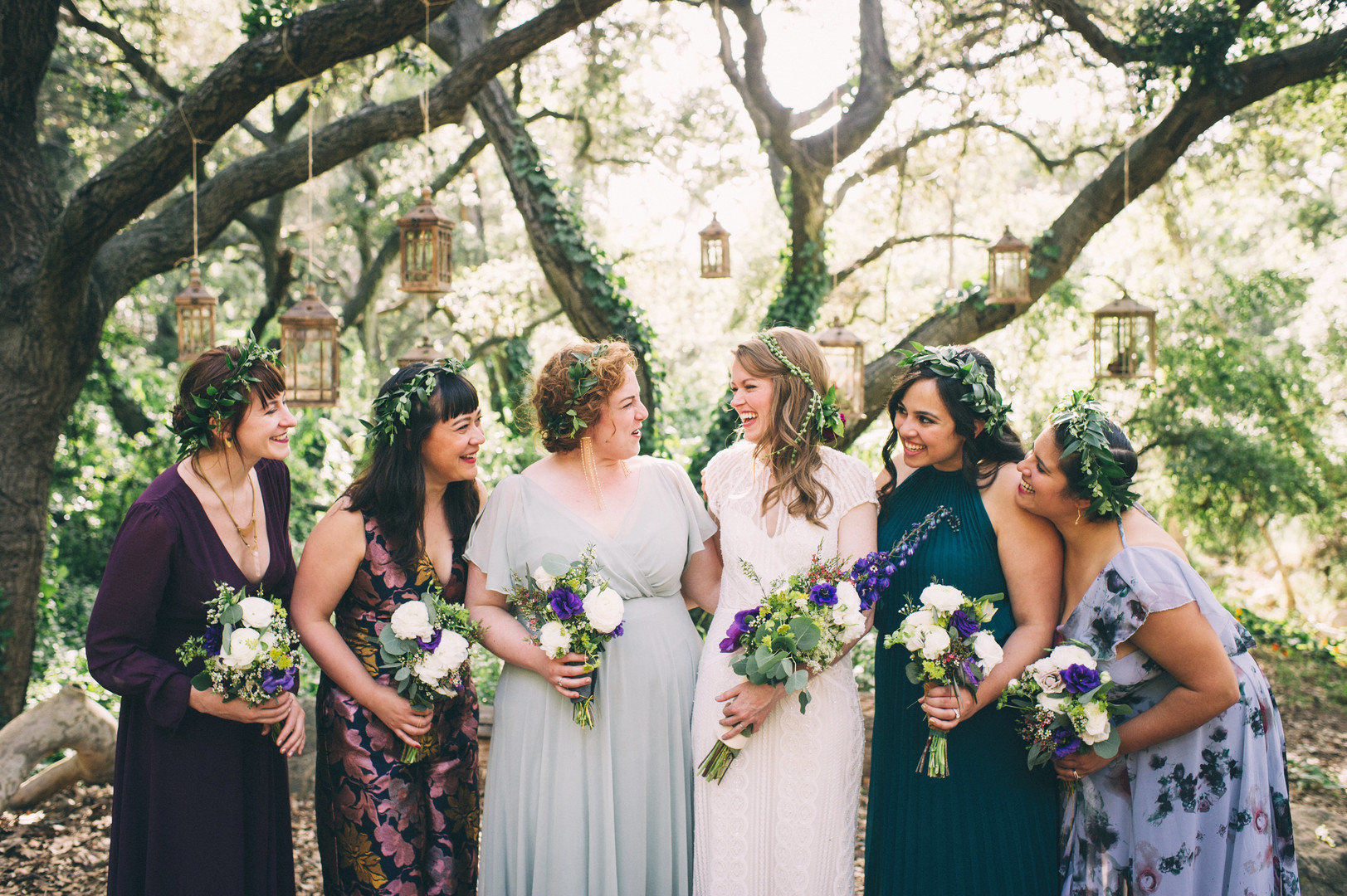 www.santabarbarawedding.com | Sarah Katherine Davis Photography | Santa Barbara Museum of Natural History | Wild Heart Events | Ella and Louie | Bride with Bridesmaids