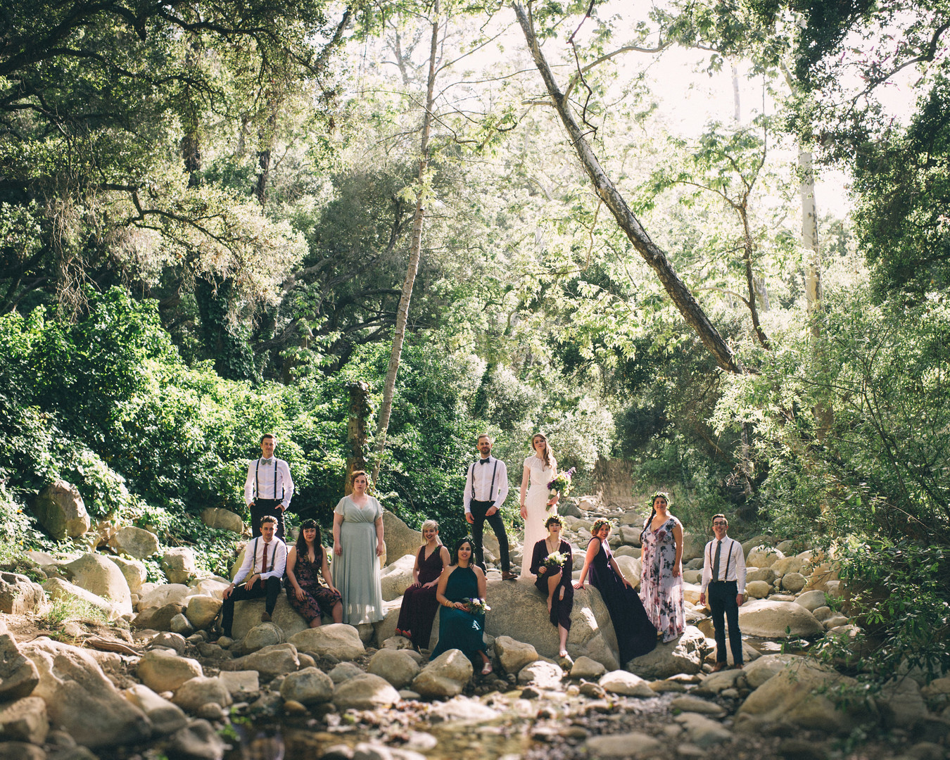 www.santabarbarawedding.com | Sarah Katherine Davis Photography | Santa Barbara Museum of Natural History | Wild Heart Events | Ella and Louie | Bridal Party on the Rocks