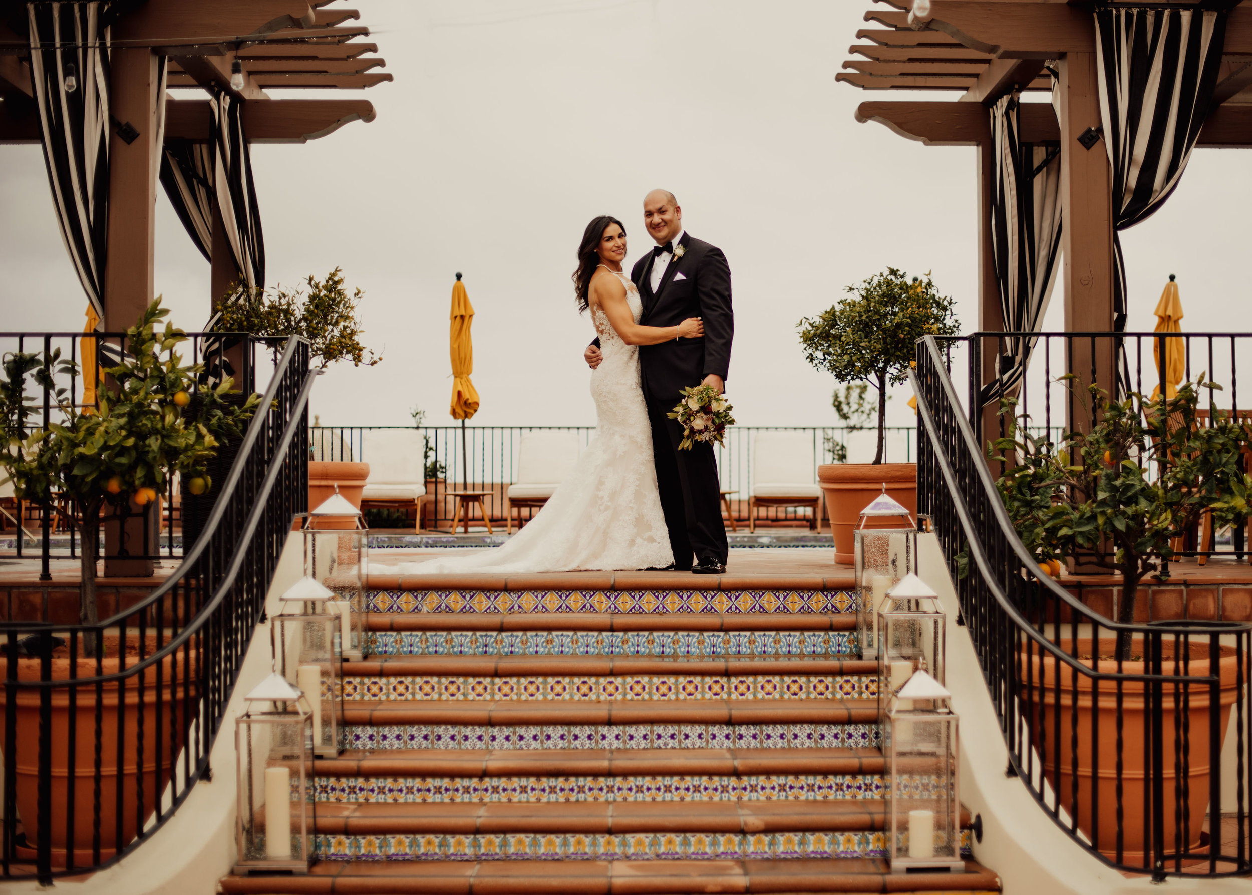 www.santabarbarawedding.com | SefraKay Photography | Kimpton Canary Hotel | Alexis Ireland | Bride and Groom on the Steps