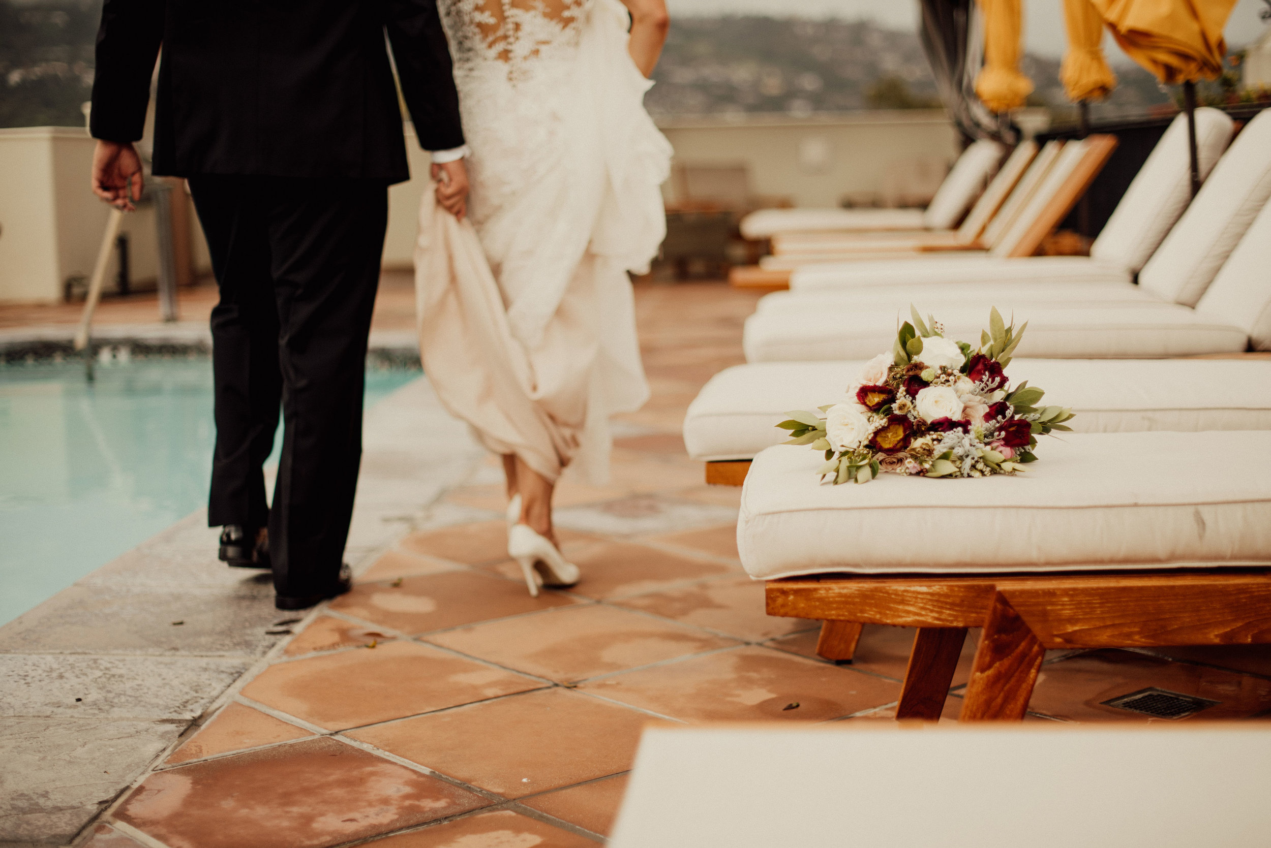www.santabarbarawedding.com | SefraKay Photography | Kimpton Canary Hotel | Alexis Ireland | Bride and Groom by the Pool