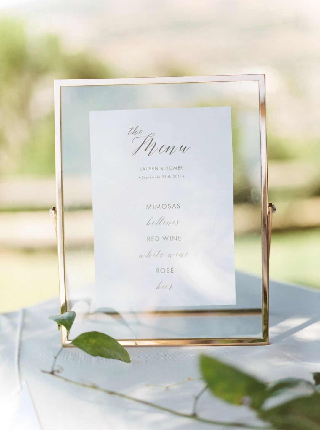 wwww.santabarbawedding.com | Planner: Vintage Heart Events | Ceremony Venue: Serra Cross Park | Photographer: Haley Richter Photography | Reception Menu
