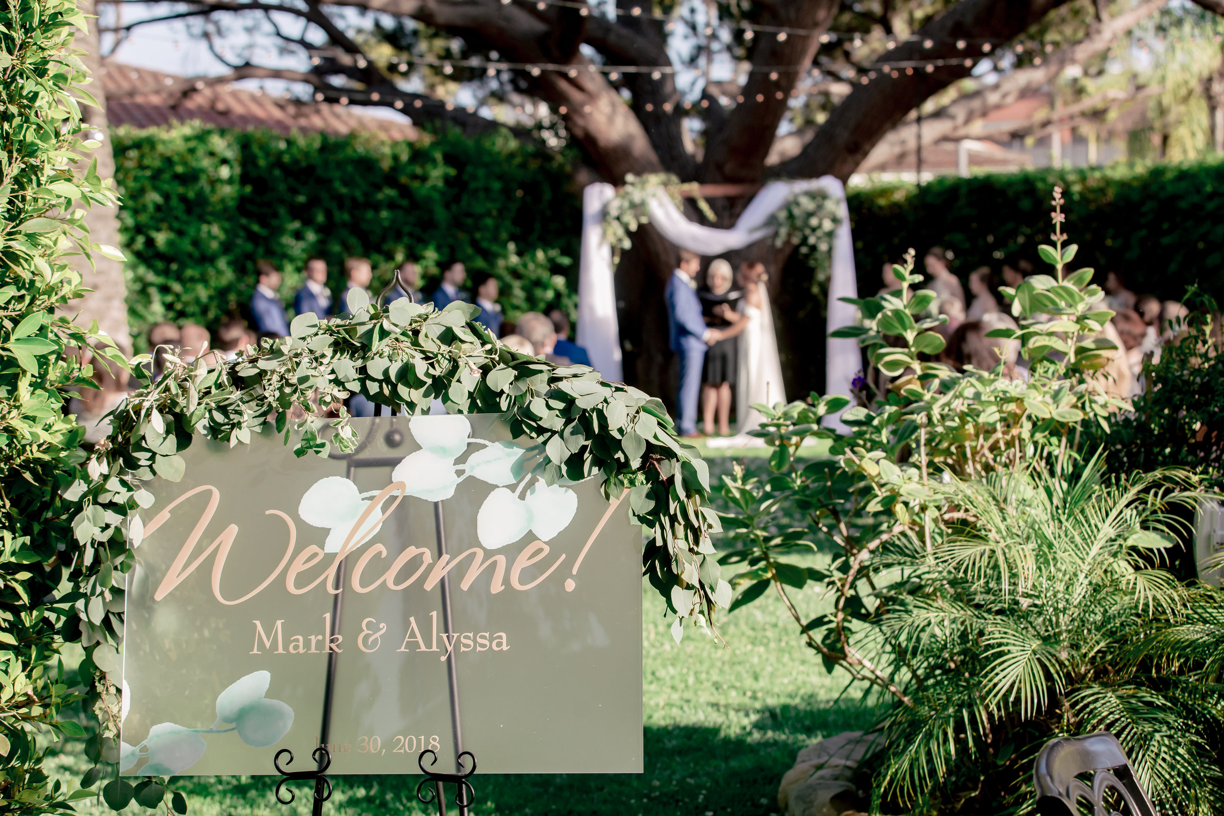 www.santabarbarawedding.com | Rewind Photography | Riviera Mansion | Alegria by Design | Margaret Joan Florals | Just-4-Fun Party Rentals | Ceremony Welcome Sign