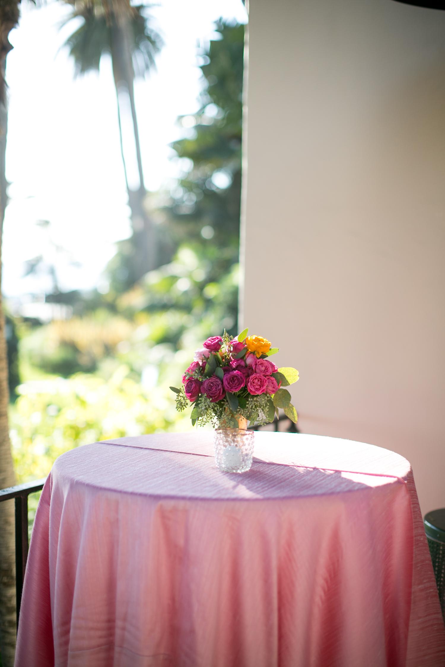 www.santabarbarawedding.com | Miki & Sonja Photography | Four Seasons Resort The Biltmore | Imagine Weddings & Special Events | La Tavola Linens | Cocktail Hour Table