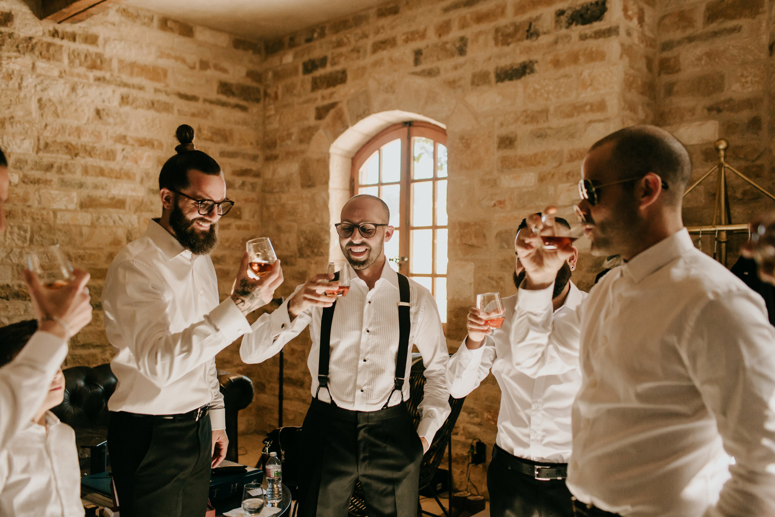 www.santabarbarawedding.com | Alexandria Monette Photography | Sunstone Villa | Soleil Events | Chris Brugler Catering | Groom and Groomsmen Enjoy Drinks Before Ceremony