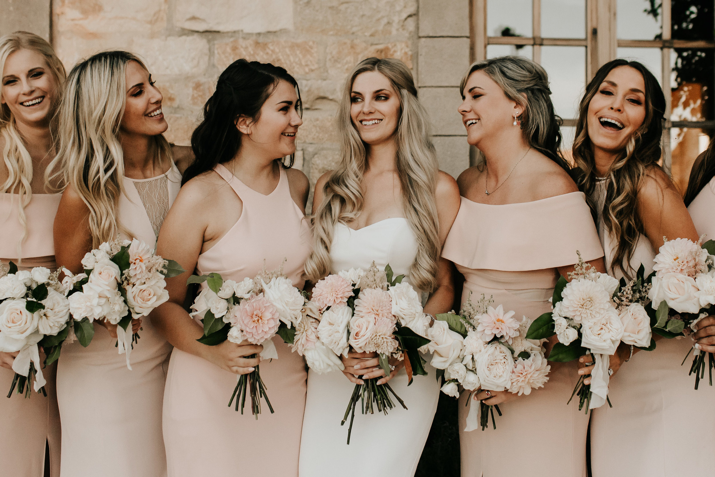 www.santabarbarawedding.com | Alexandria Monette Photography | Sunstone Villa | Soleil Events | Anna le Pley Taylor Flowers | Bride with Bridesmaids