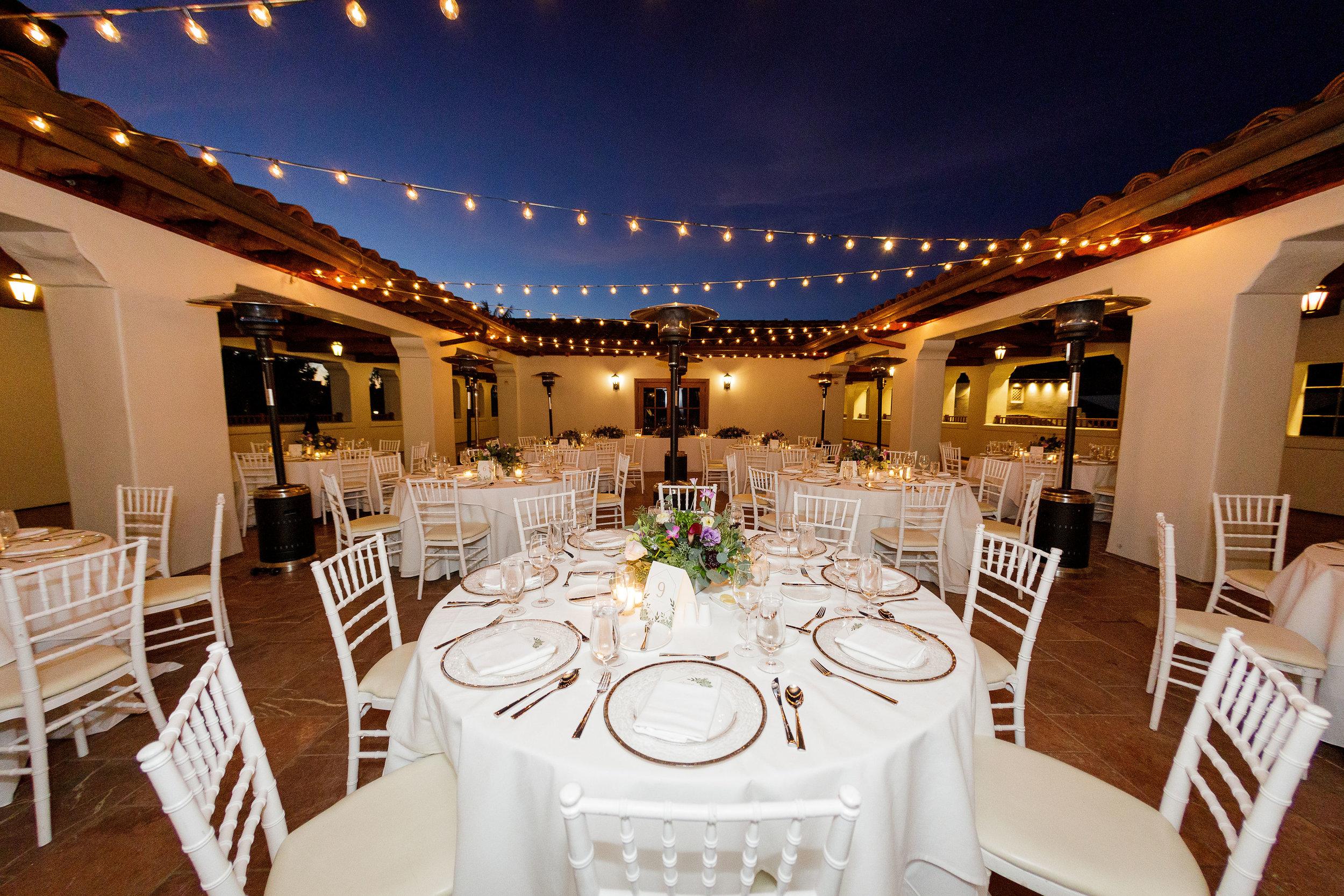 www.santabarbarawedding.com   Kiel Rucker Photography   The Ritz Carlton Bacara   Event of the Season   Cody Floral Design   Reception Tables Set Up at Night