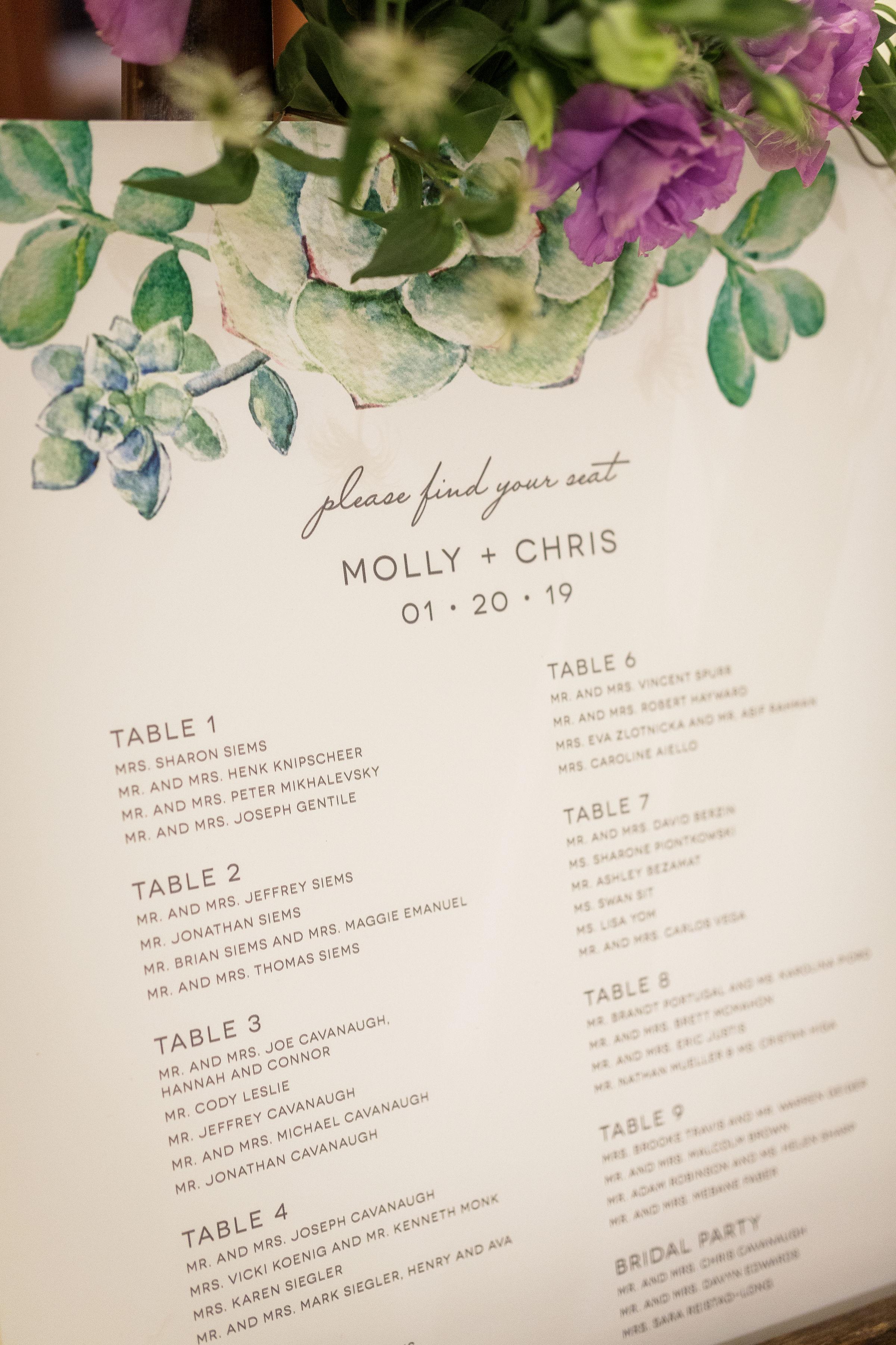 www.santabarbarawedding.com   Kiel Rucker Photography   The Ritz Carlton Bacara   Event of the Season   Cody Floral Design   Table Assignments Poster