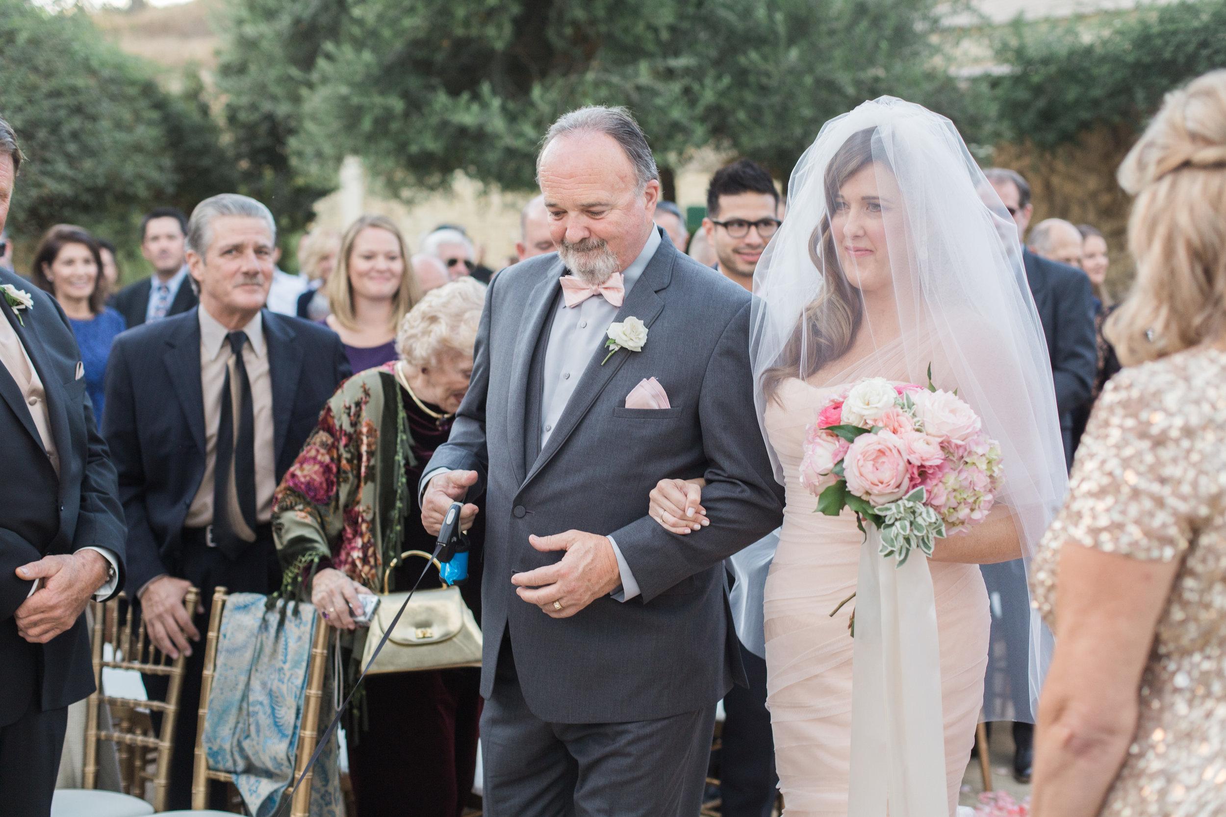www.santabarbarawedding.com | Molly + Co | Sunstone Winery | Jill + Co Events | Bella Vista Design | Father Walking Bride Down the Aisle