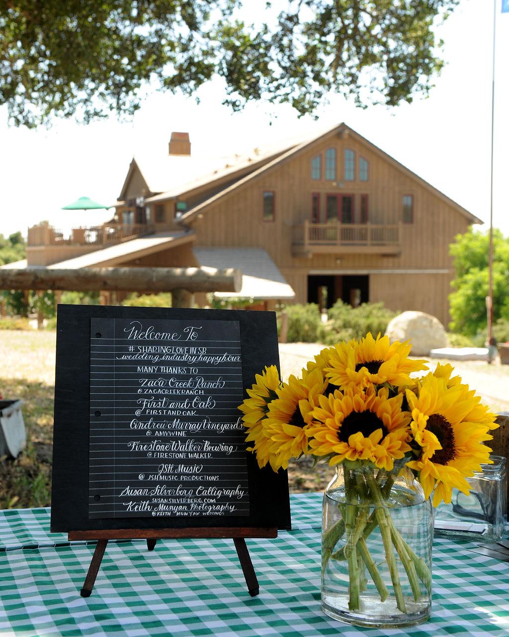 www.santabarbarawedding.com | Zaca Creek Ranch Happy Hour | Keith Munyan Photography | Welcome Sign