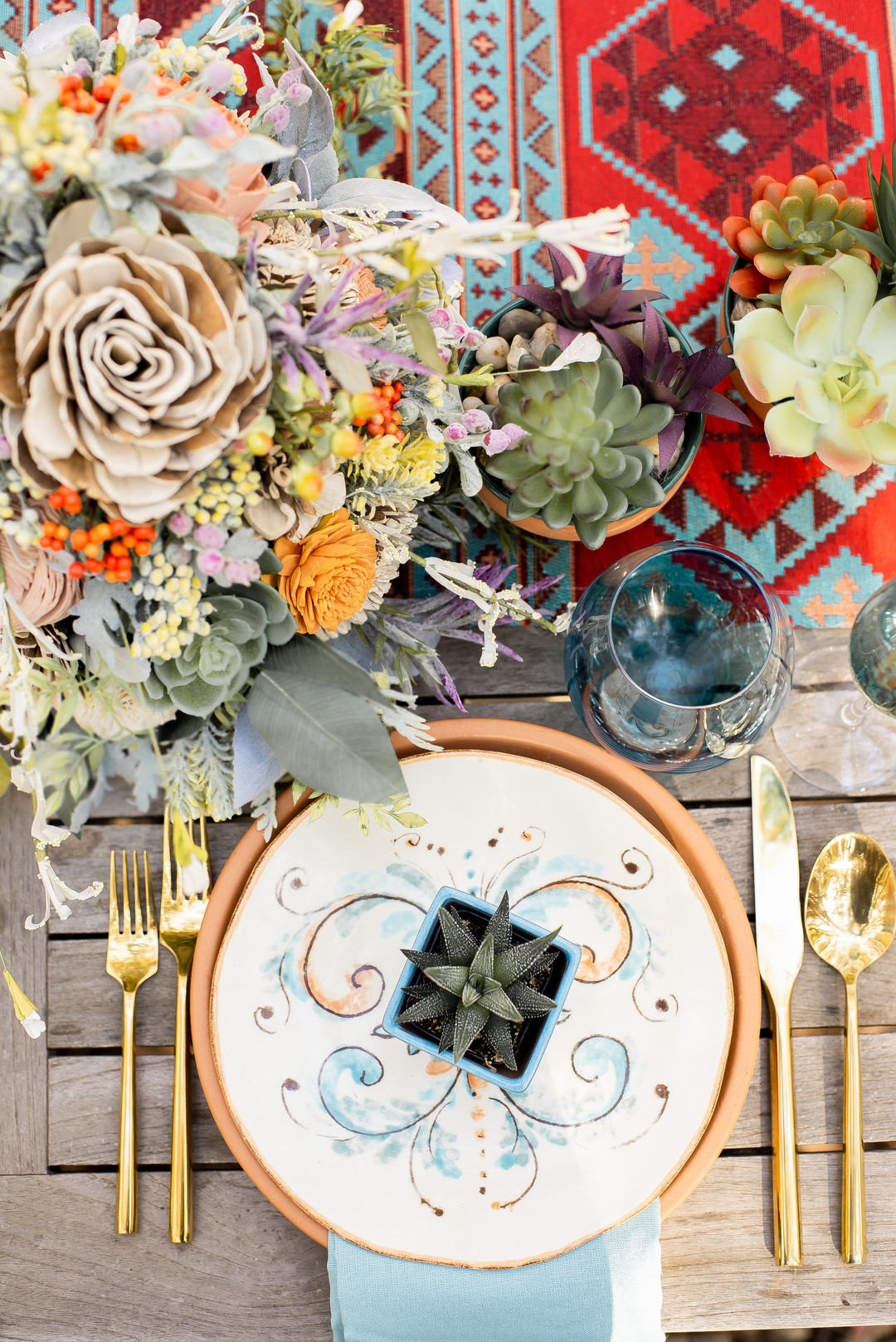 www.santabarbarawedding.com   Staci and Michael Photography   Montana de Oro State Park   EverAfter Wood Floral   Pier 1 Imports   Wedding table setting