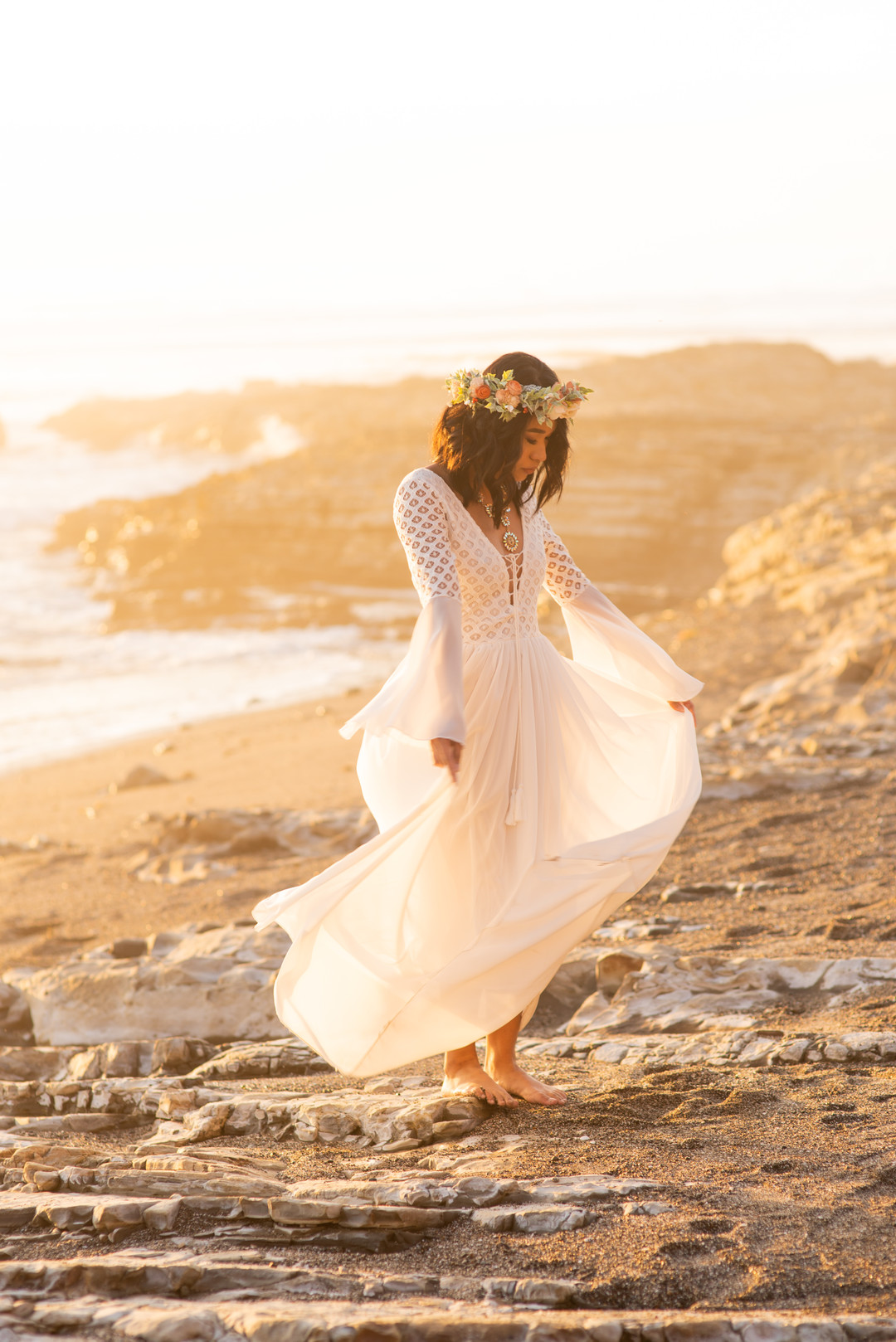 www.santabarbarawedding.com   Staci and Michael Photography   Montana de Oro State Park   EverAfter Wood Floral   Bride on beach