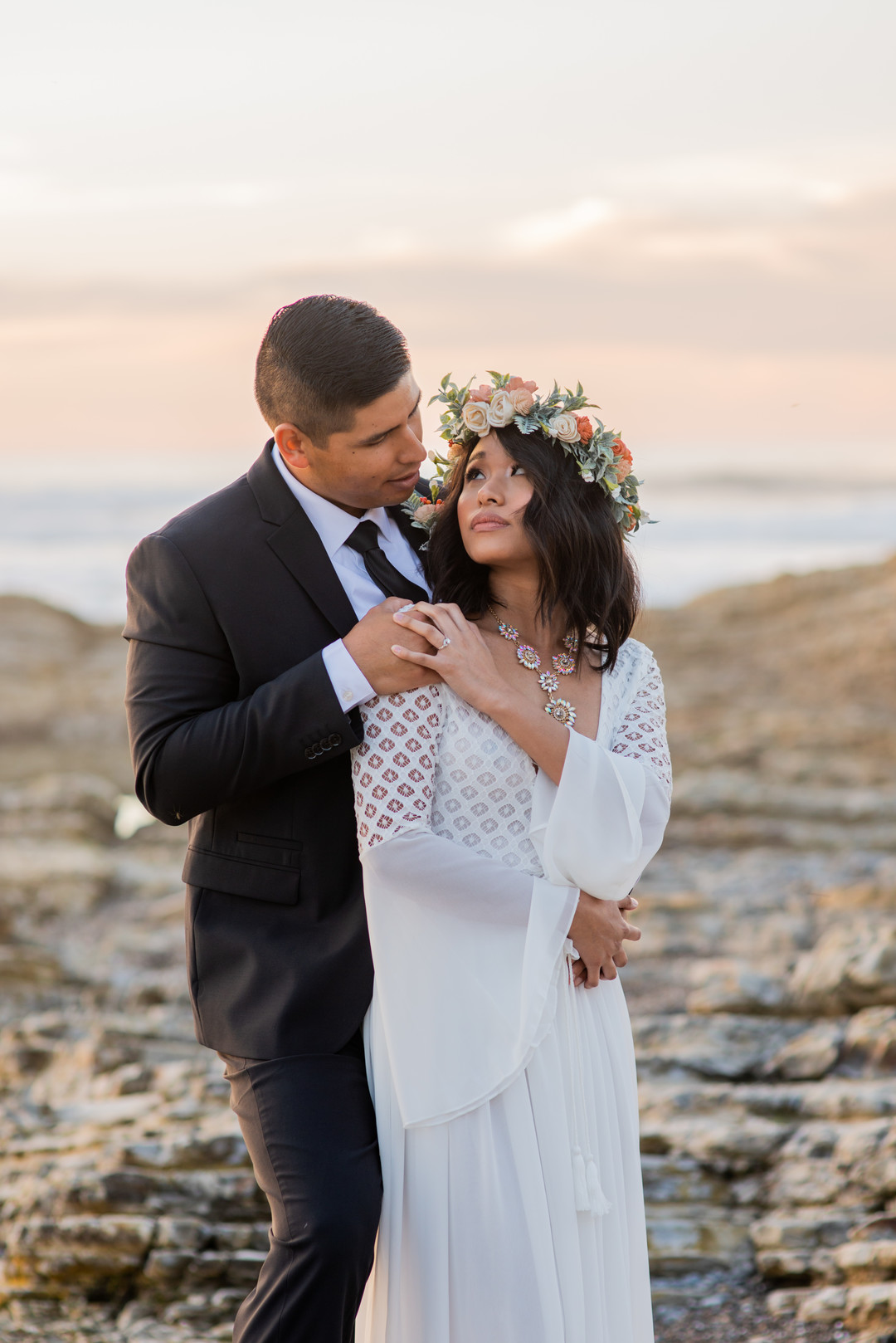 www.santabarbarawedding.com   Staci and Michael Photography   Montana de Oro State Park   EverAfter Wood Floral   Express   Makeup by Madisen Wickliffe   Bride and groom on beach