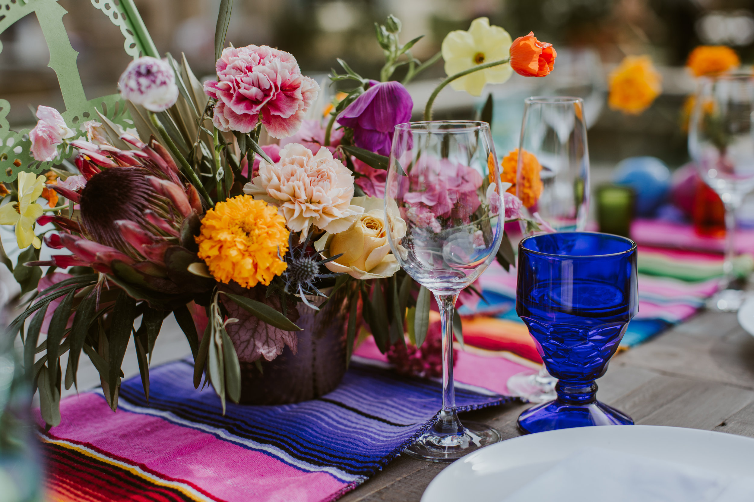 www.santabarbarawedding.com | Burgundy Blue | Ventura Rentals | Fleur De Rye | Catering Connection | Colorful Table Settings and Flowers