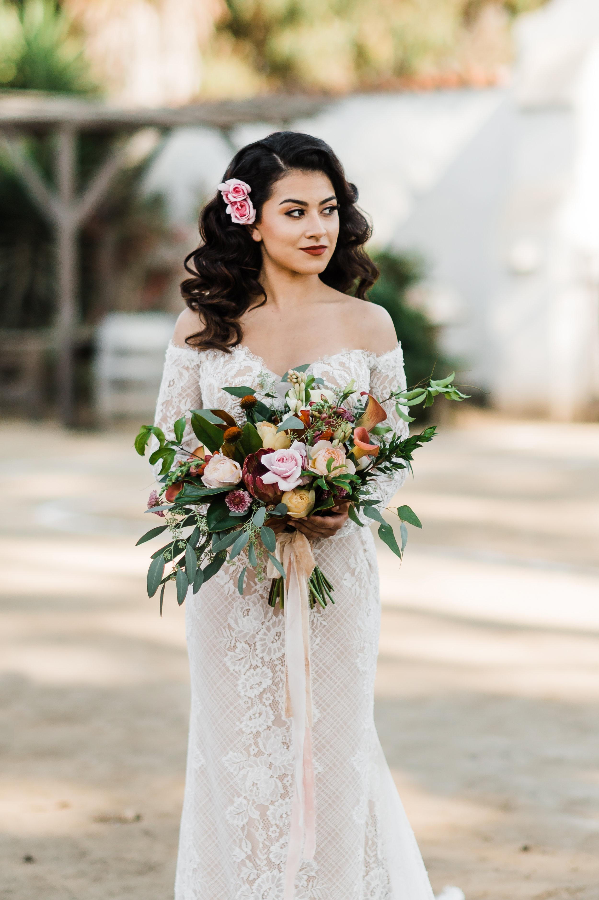 www.santabarbarawedding.com | Michelle Ramirez Photography | Olivas Adobe | Karen Marie Events | Tangled Lotus | Panache Bridal | Brenda Hendricks Artistry | Bride with Her Bouquet
