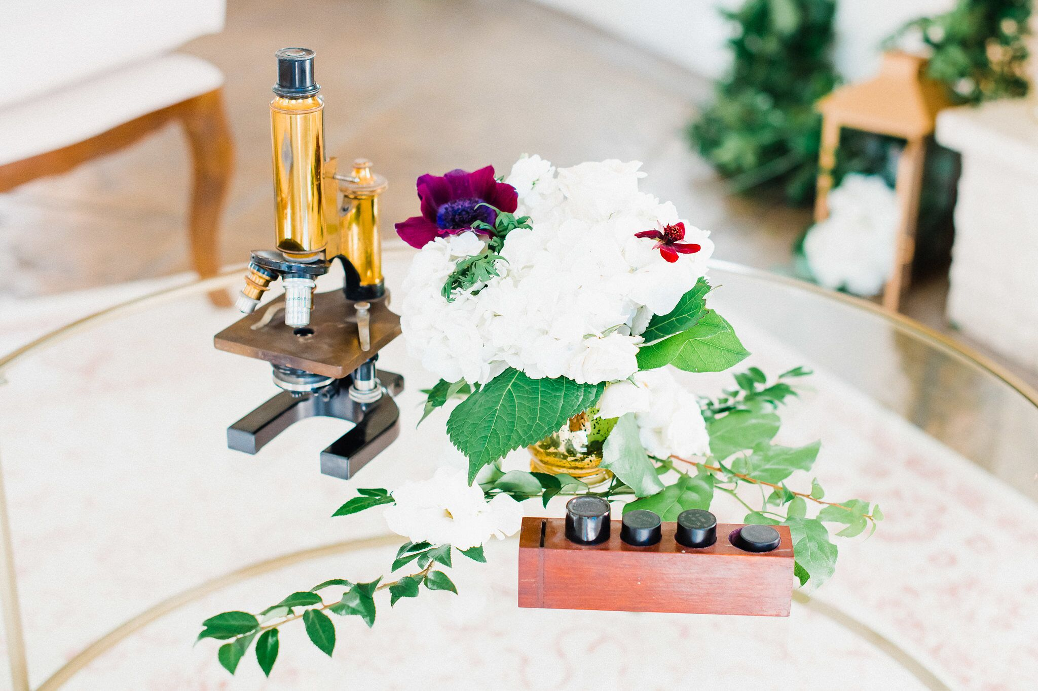 www.santabarbaraweddings.com | Photographer: Grace Kathryn | Venues: Villa & Vine, Santa Barbara Courthouse, Hilton Santa Barbara Resort | Coordination: Burlap & Bordeaux | Vintage Microscope