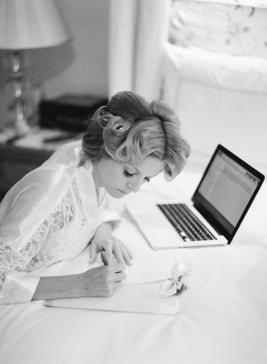 www.santabarbarawedding.com | Patrick Moyer Photography | Dos Pueblos Ranch | Soigné Productions | Page Berse | Bride Writing Before the Ceremony
