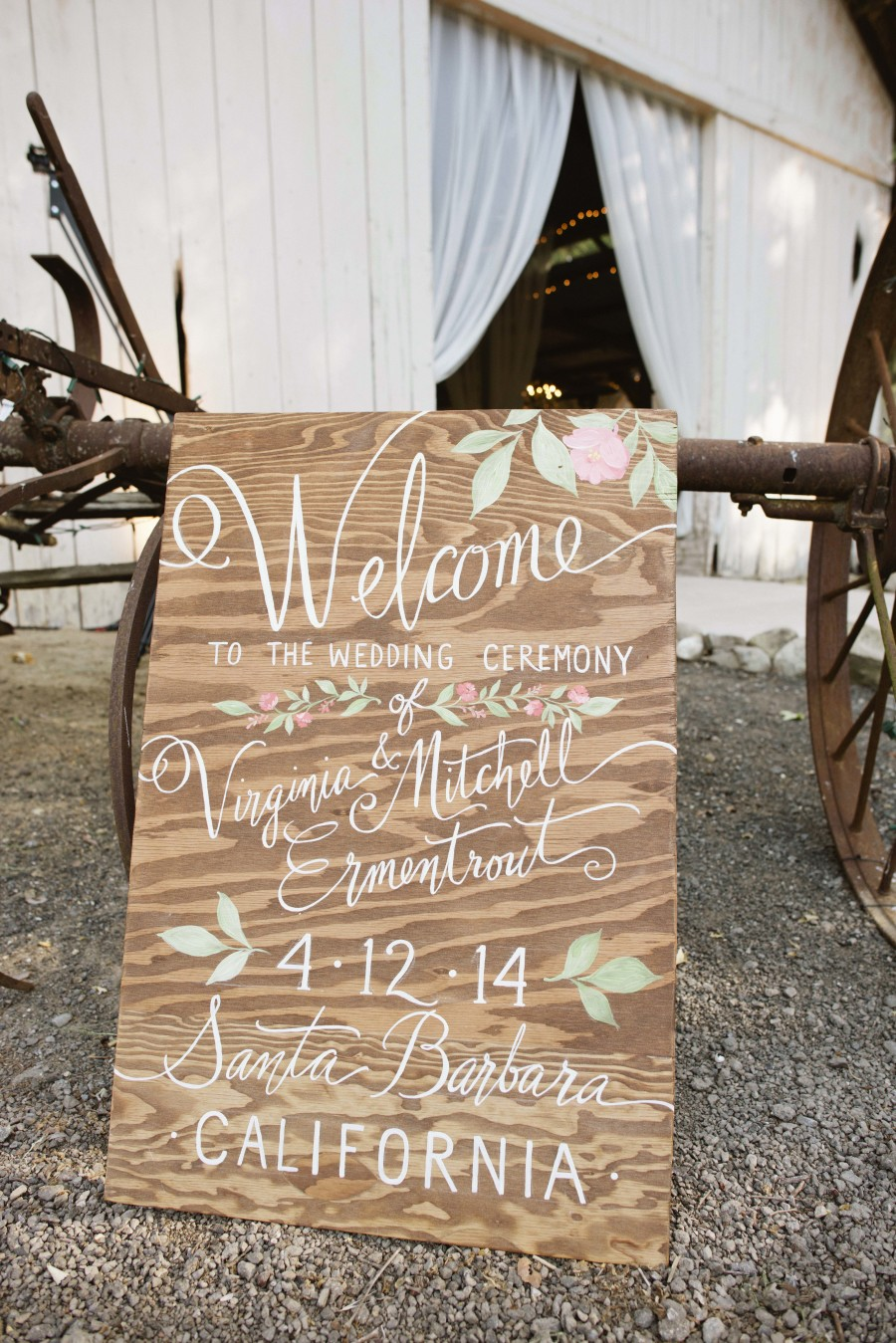 www.santabarbarawedding.com | Patrick Moyer Photography | Dos Pueblos Ranch | Soigné Productions | The Tent Merchant | Wedding Welcome Sign