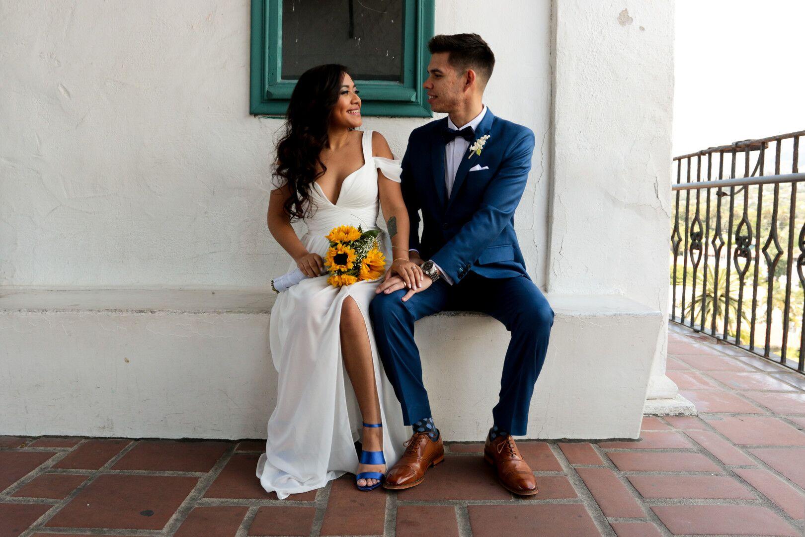 www.santabarbaraweddings.com | Photographer: Trista Maja Photography | Venue: Santa Barbara Courthouse | Wedding Dress: Lulus | Hair: Legends Hair | Bride and Groom Sweet Moment