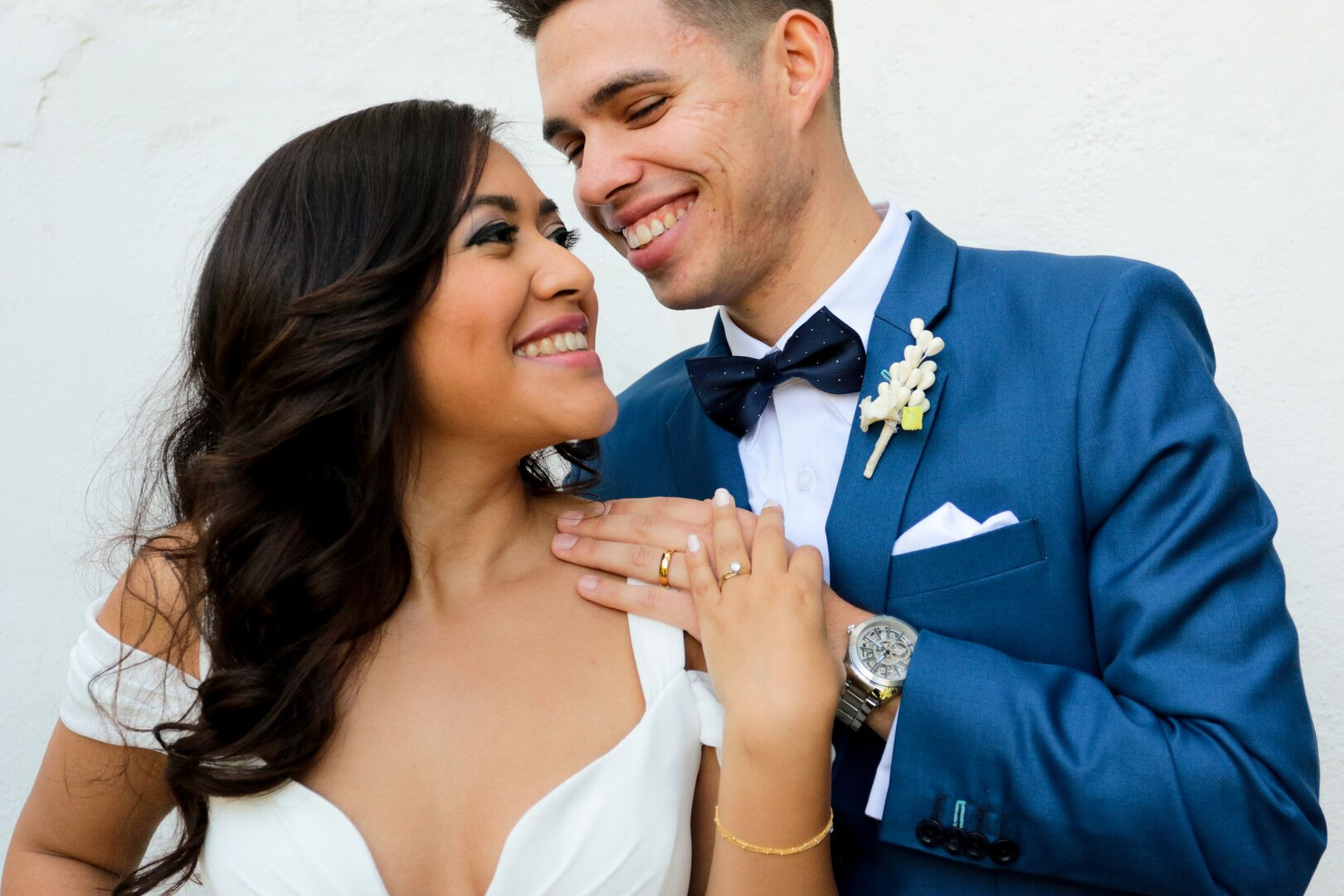 www.santabarbaraweddings.com | Photographer: Trista Maja Photography | Venue: Santa Barbara Courthouse | Wedding Dress: Lulus | Hair: Legends Hair |  Bride and Groom - Rings Focus