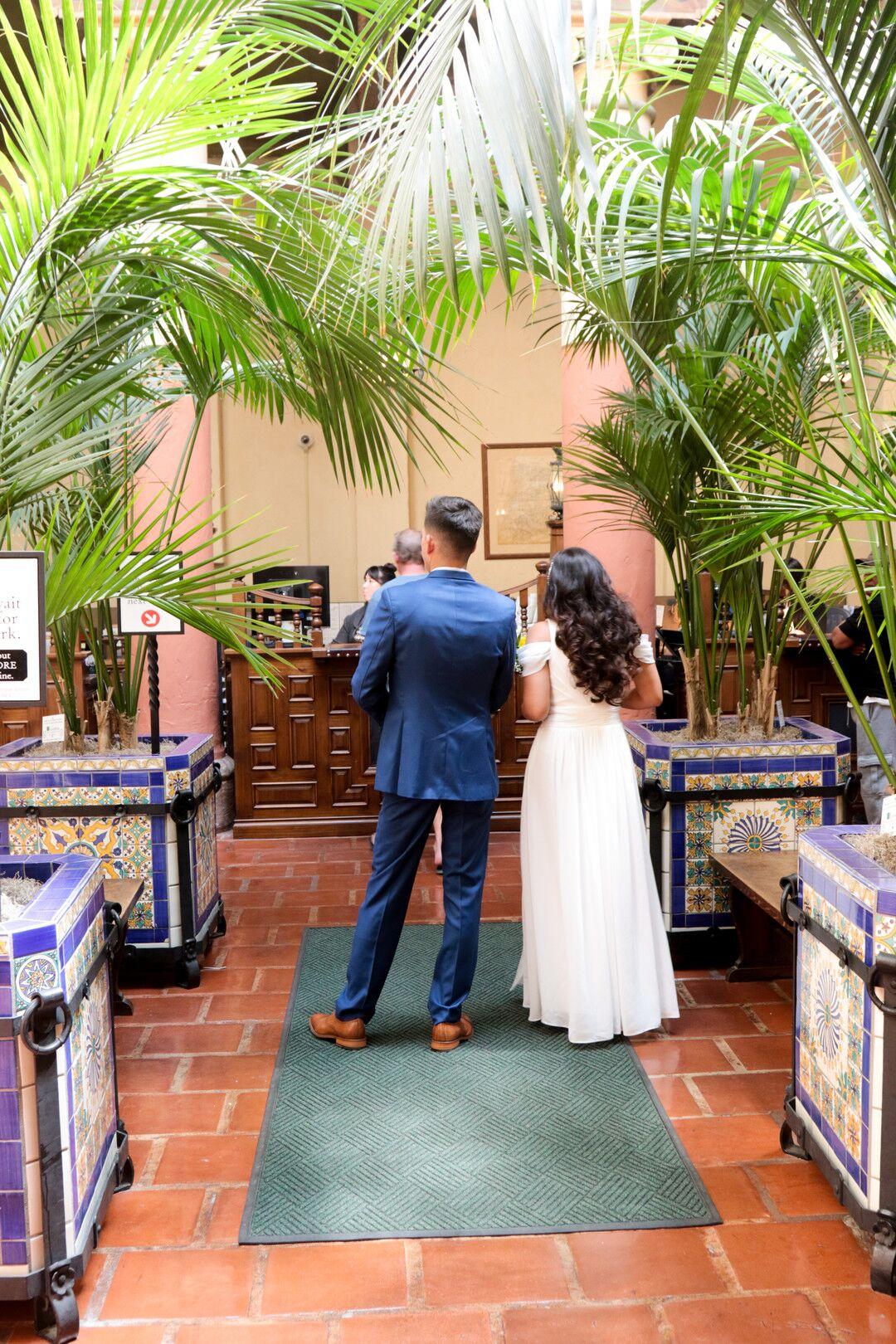 www.santabarbaraweddings.com | Photographer: Trista Maja Photography | Venue: Santa Barbara Courthouse | Wedding Dress: Lulus | Hair: Legends Hair |  Couple Pre-Ceremony