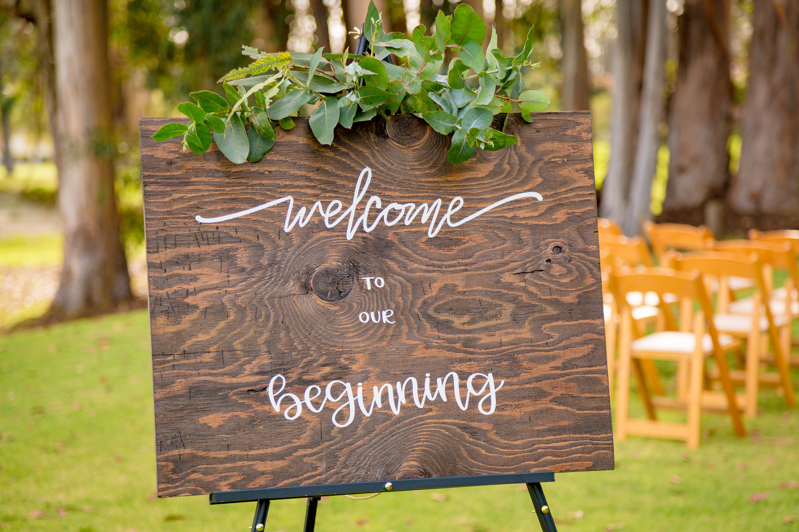 www.santabarbarawedding.com | SLO Town Studios | Black Lake Golf Course | Flowers by Denise | Opulence Signs & Designs | wedding welcome sign