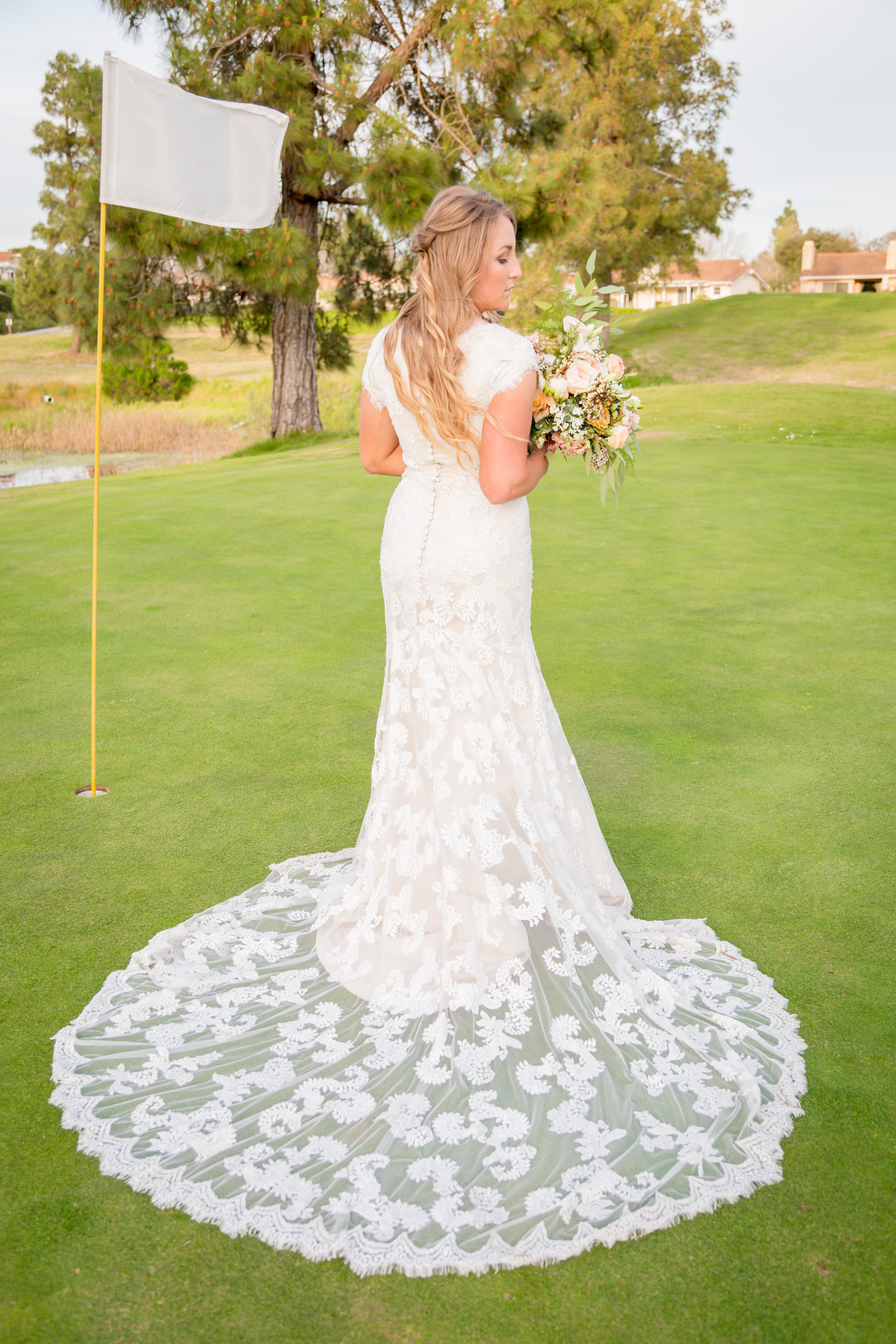 www.santabarbarawedding.com | SLO Town Studios | Black Lake Golf Course | Flowers by Denise | Bellizzimo Beauty | Perfect Peach Sunless Glow | bridal portrait