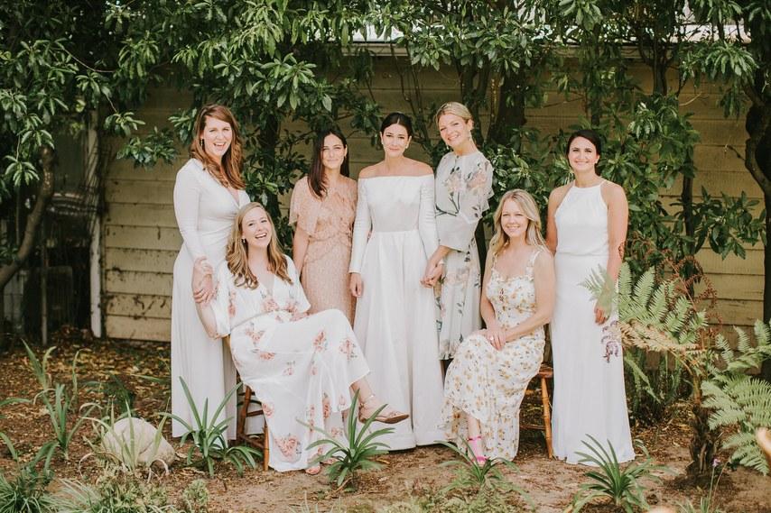 www.santabarbarawedding.com | WildWhim Design + Photography | Santa Barbara Historical Museum | Ann Johnson Events | Doen | Reformation | Zac Posen | Bride and Bridesmaids