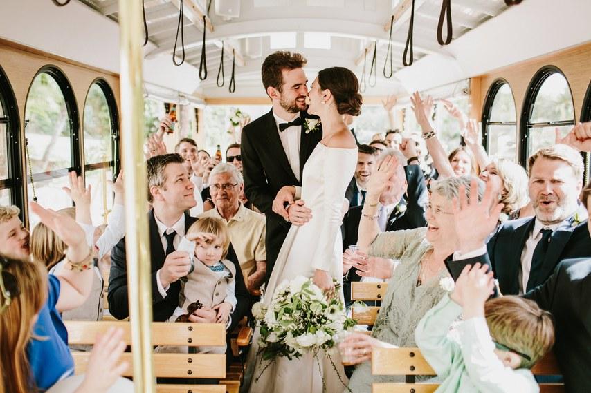 www.santabarbarawedding.com | WildWhim Design + Photography | Our Lady of Mount Carmel | Ann Johnson Events | Bloom Floral and Foliage | Santa Barbara Trolley | Wedding Party in Trolley