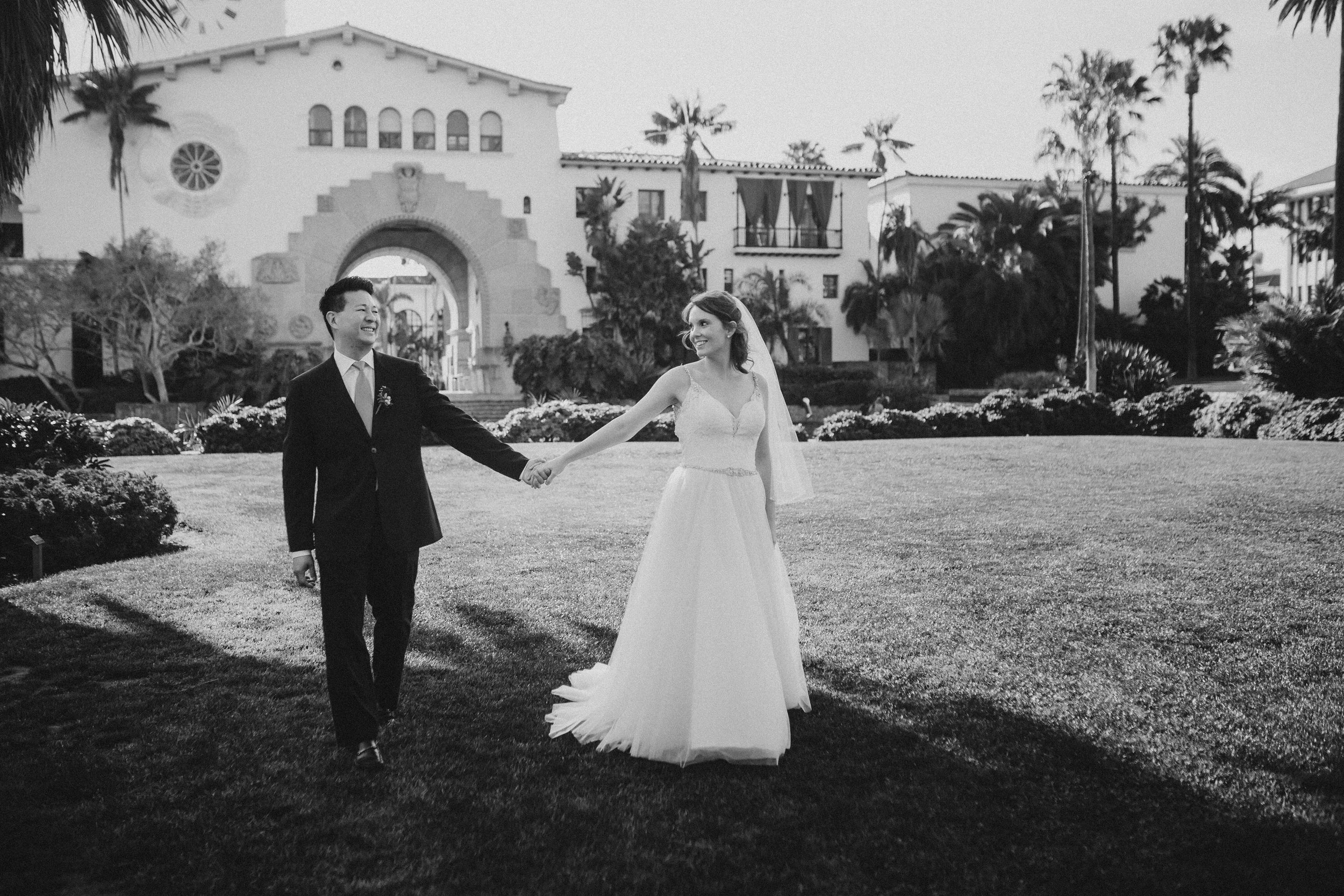 www.santabarbawedding.com | Venue: Santa Barbara Courthouse | Photography: Ryanne Bee Photography | Officiant: Santa Barbara Classic Weddings | Bride and Groom Romantic Walk