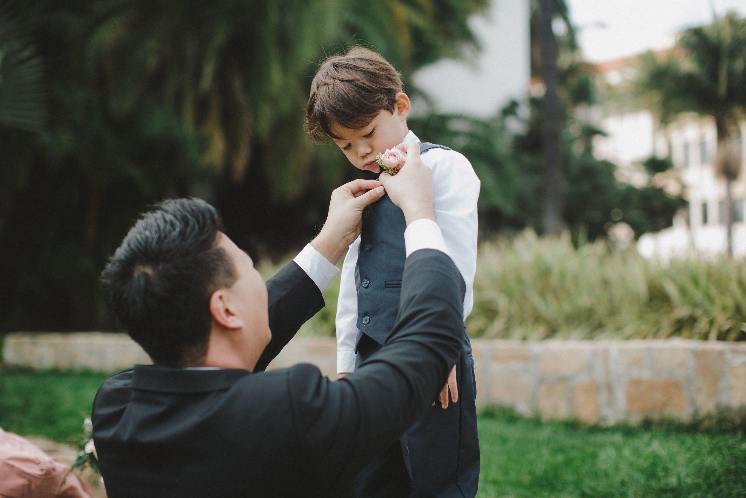 www.santabarbawedding.com | Venue: Santa Barbara Courthouse | Photography: Ryanne Bee Photography | Officiant: Santa Barbara Classic Weddings | Groom and Son as Best Man