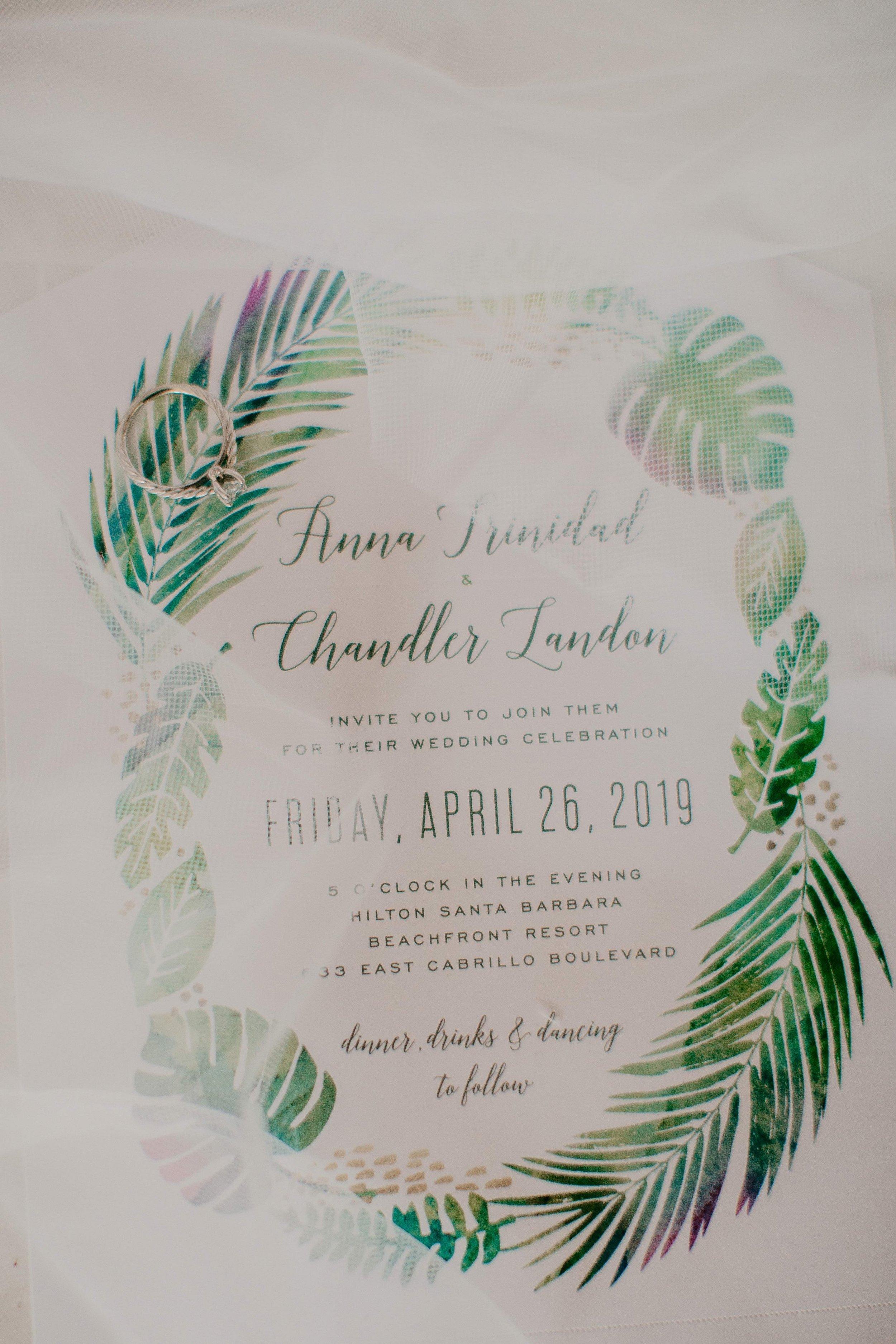 www.santabarbarawedding.com | Candice Marie Photography | Hilton Santa Barbara Beachfront Resort | Dalina Klan | Once in a Lifetime Weddings | Wedding Invitation