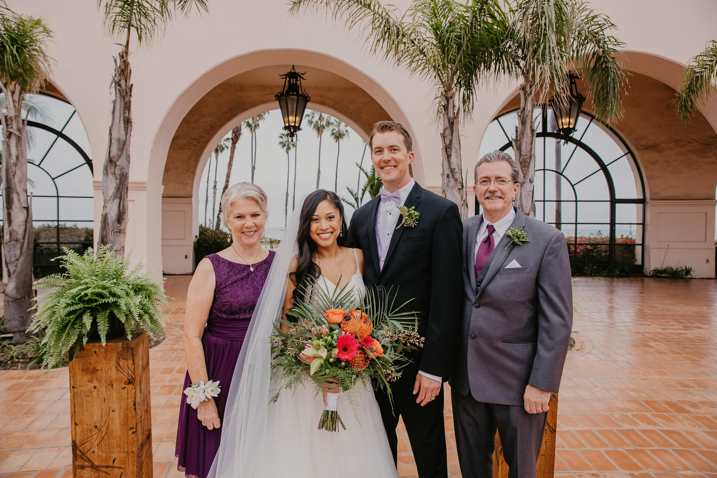 www.santabarbarawedding.com | Candice Marie Photography | Hilton Santa Barbara Beachfront Resort | Dalina Klan | Once in a Lifetime Weddings | Alpha Floral | Bride and Groom with Groom's Parents