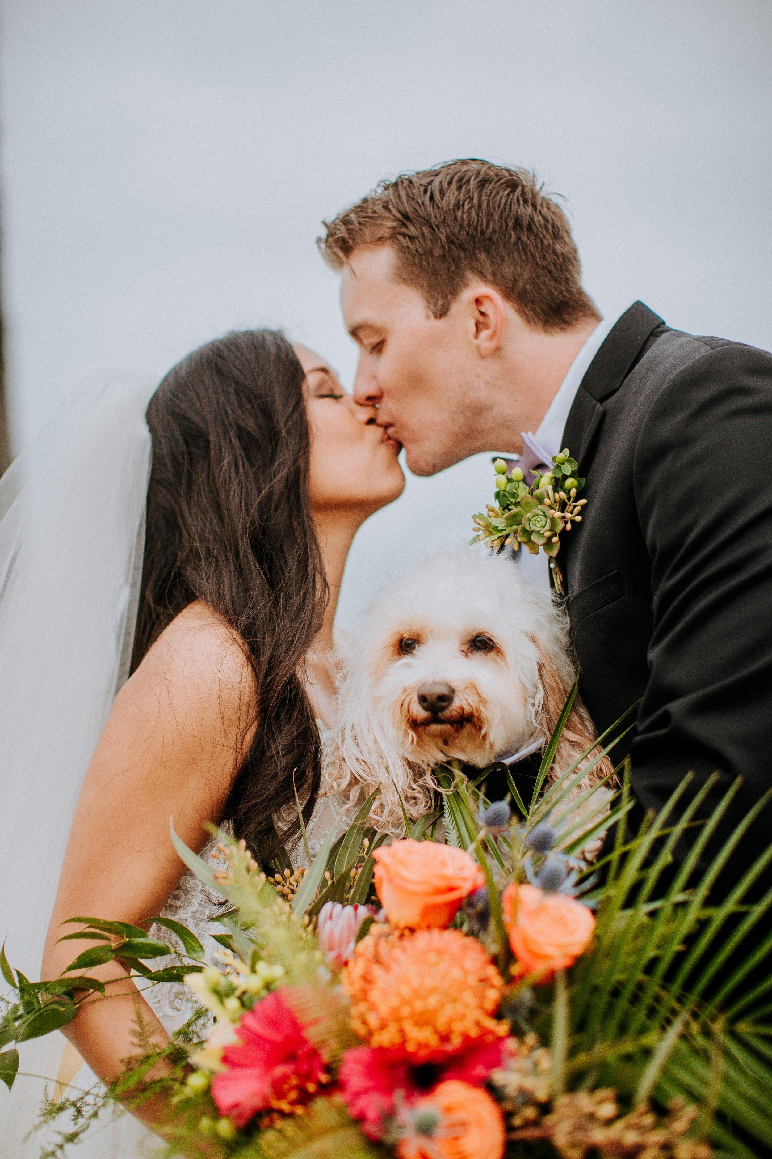 www.santabarbarawedding.com | Candice Marie Photography | Hilton Santa Barbara Beachfront Resort | Dalina Klan | Once in a Lifetime Weddings | Alpha Floral | Bride and Groom Share a Kiss