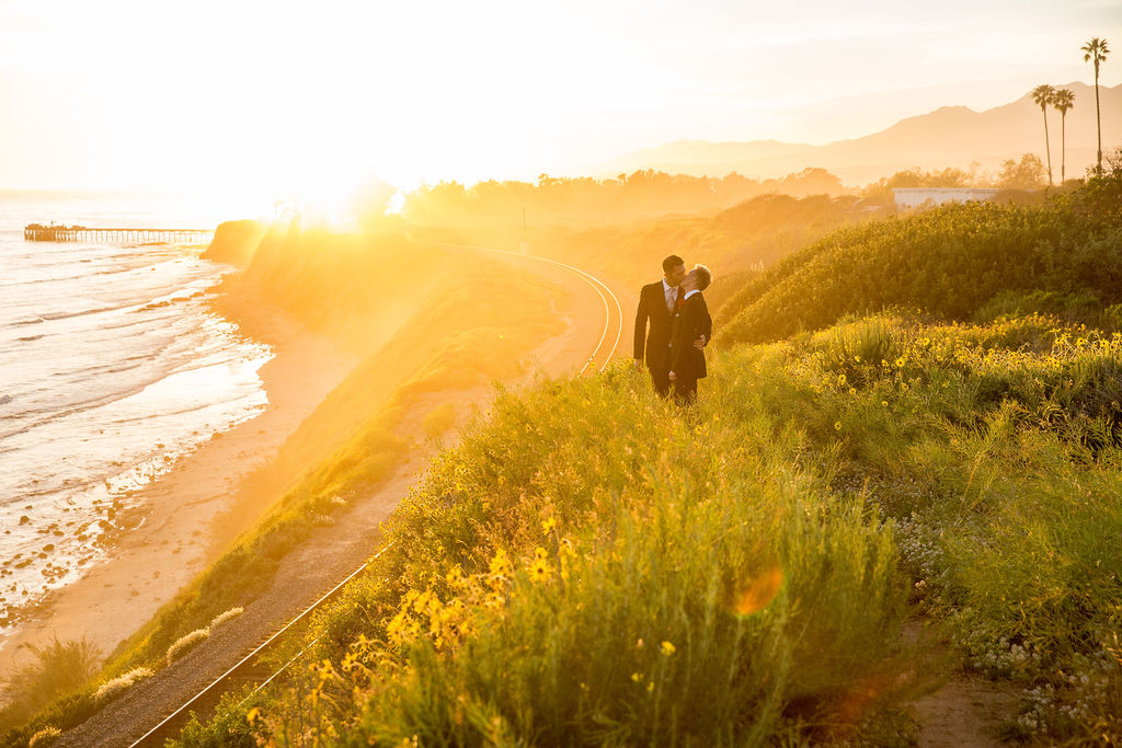 www.santabarbarawedding.com | Head and Heart Photography | Ocean Front Venue | Felici Events | Passion Flowers | Couple by the Beach