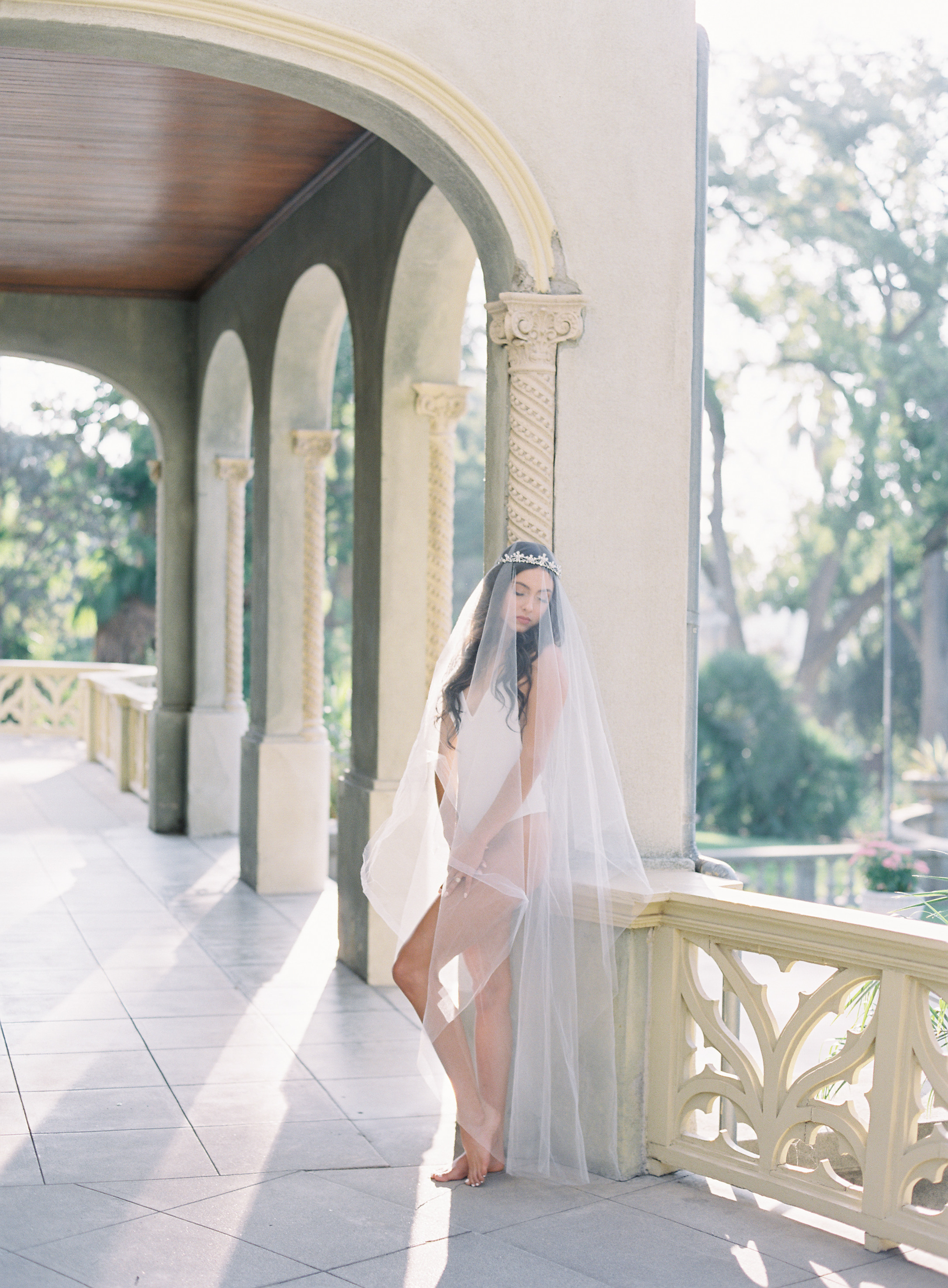 www.santabarbarawedding.com | Carrie King Photography | Kimberly Crest House & Gardens | Reyes Modeling | Besame Floral Events | Model Posing in Bride Undergarments