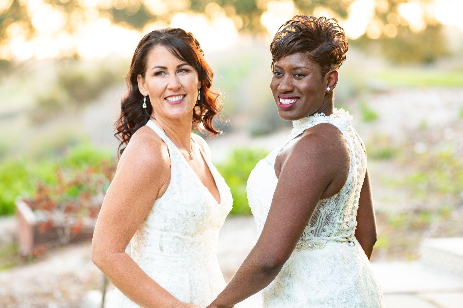 www.santabarbarawedding.com | Venue: The Casitas of Arroyo Grande | Photographer: Renoda Campbell Photography | Second Shooter: John Patrick Images |  Brides Holding Hands