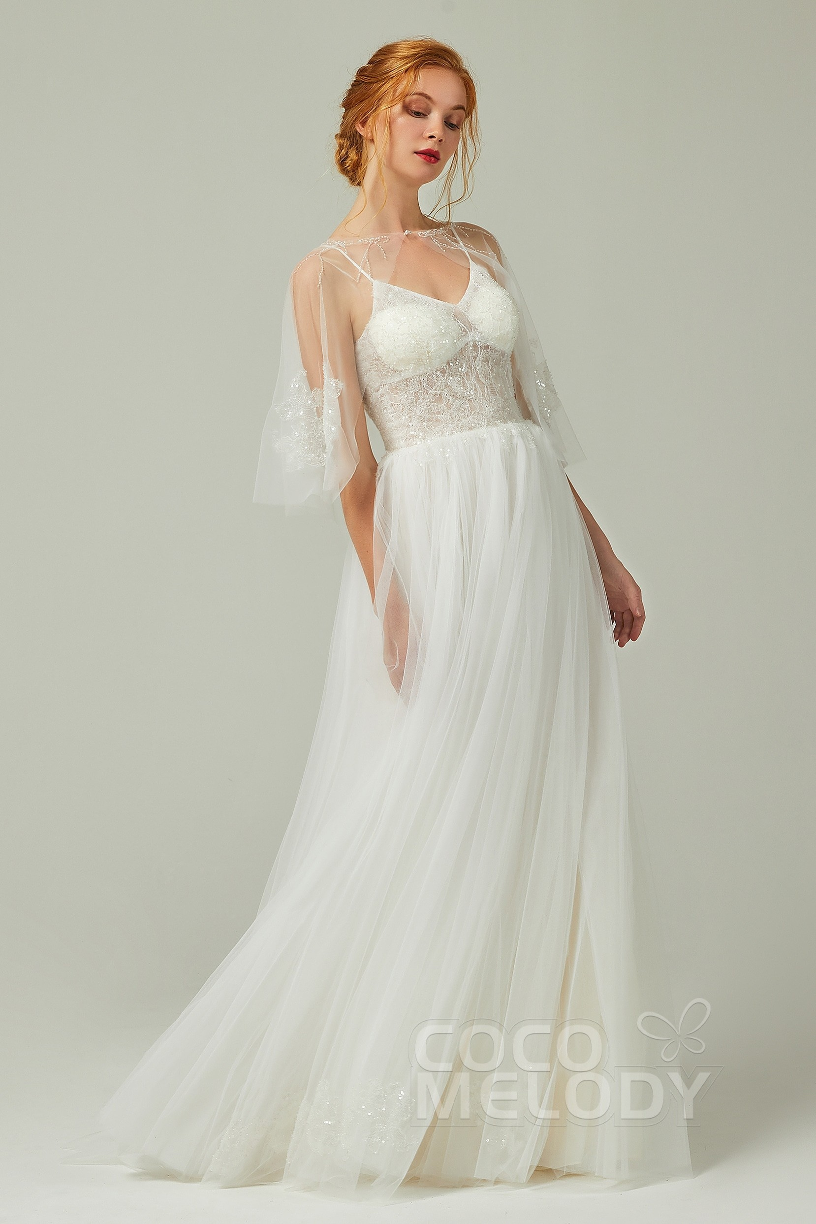 www.santabarbarawedding.com | COCOMELODY | A-Line Court Train Tulle and Lace Wedding Dress