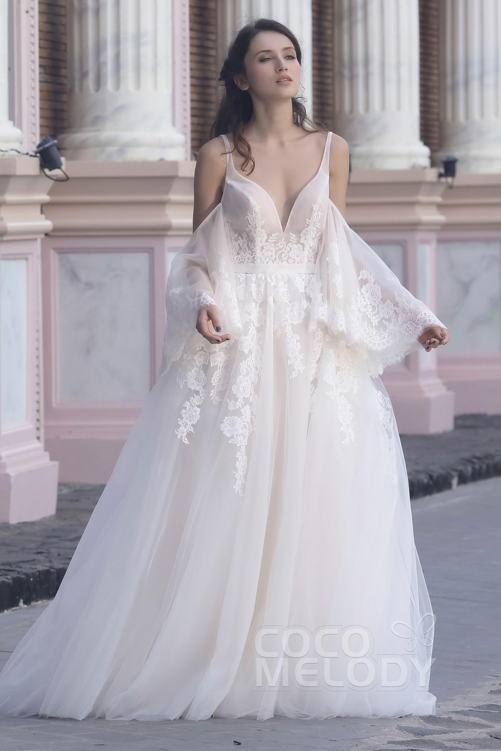 wwww.santabarbarawedding.com | COCOMELODY | A-Line Sweep-Brush Train Tulle Organza Wedding Dress