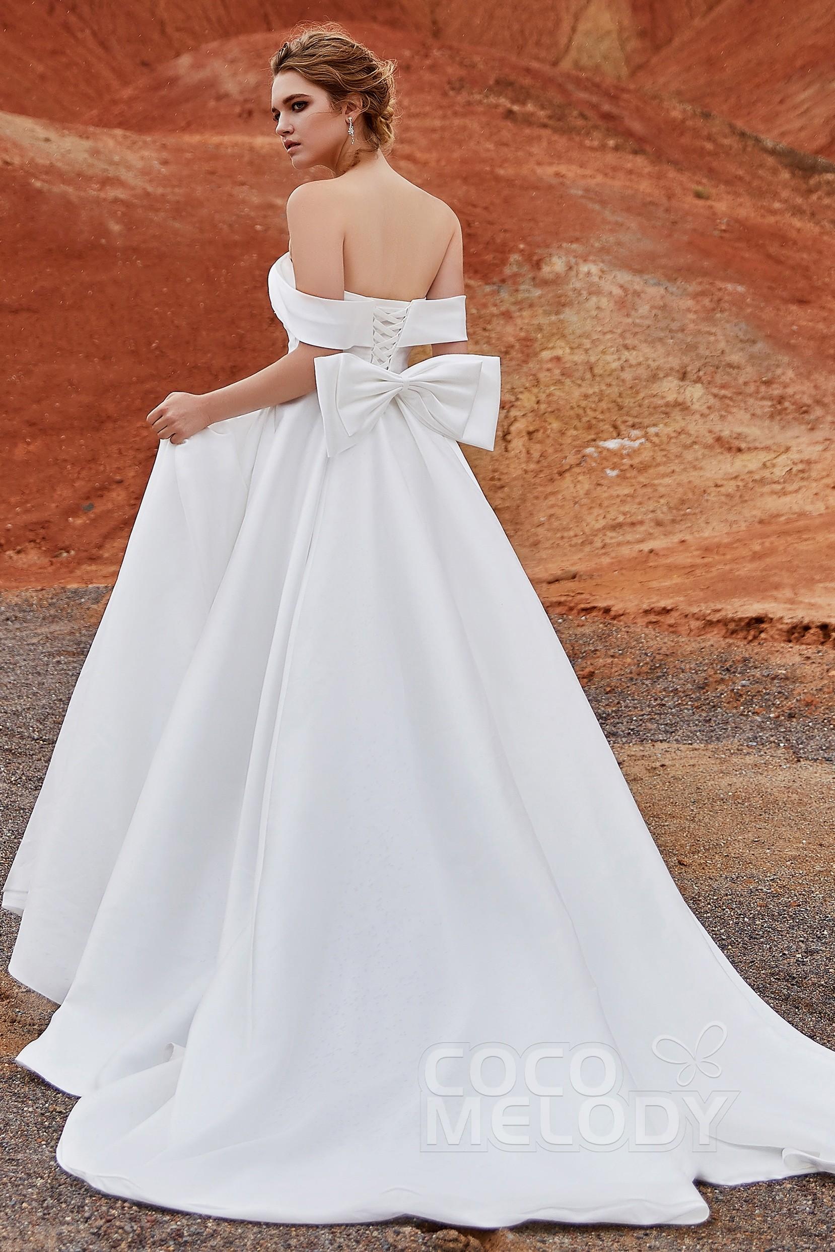 wwww.santabarbarawedding.com | COCOMELODY | A-Line Court Train Silk Satin Wedding Dress