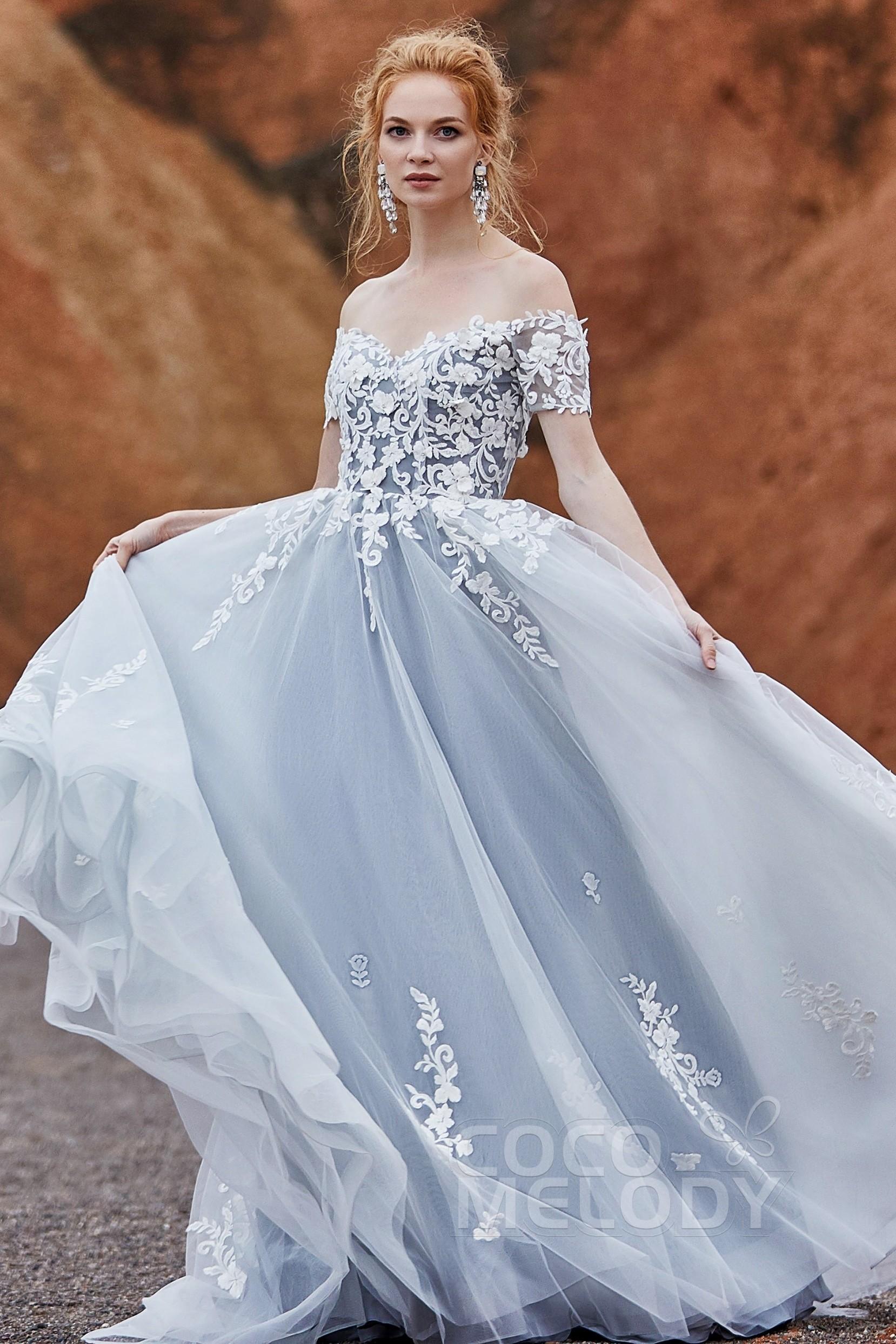 www.santabarbarawedding.com | COCOMELODY | A-Line Sweep Train Tulle Wedding Dress