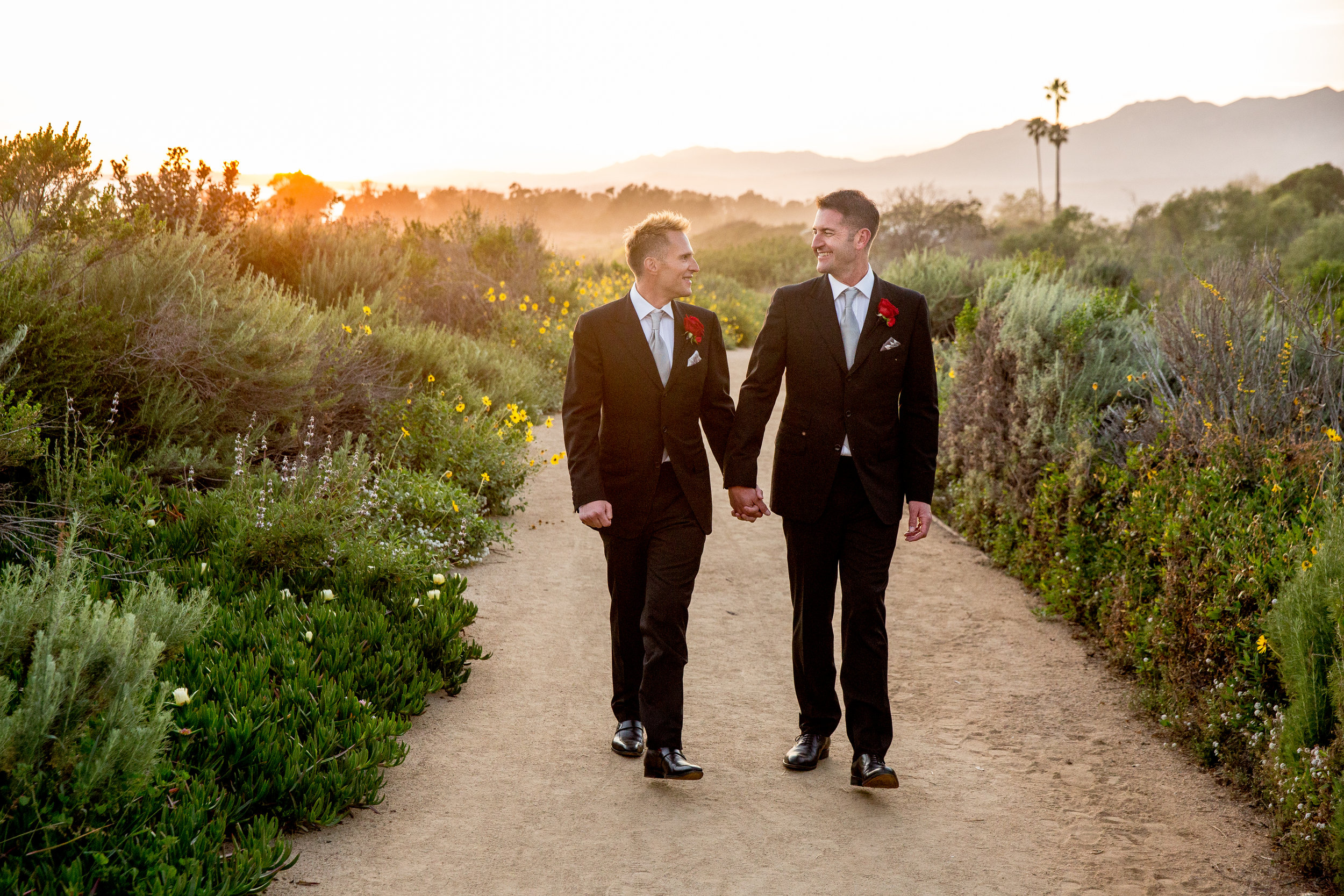 www.santabarbarawedding.com | Head and Heart Photography | Ocean Front Venue | Felici Events | Passion Flowers | Sunset Walk | Gay Wedding