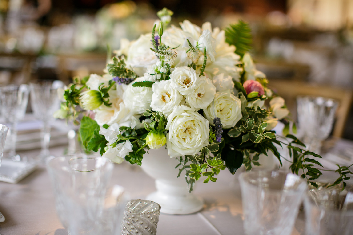 www.santabarbarawedding.com | Cody Floral Design | Classic White and Lavender Floral Centerpiece