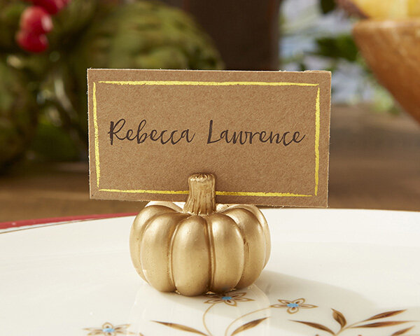 www.santabarbarawedding.com | Kate Aspen | Gold Pumpkin Place Card Holders