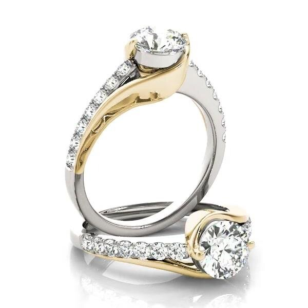www.santabarbarawedding.com | Allurez | Solitaire Engagement Ring Diamond Accented 14k Two Tone Gold