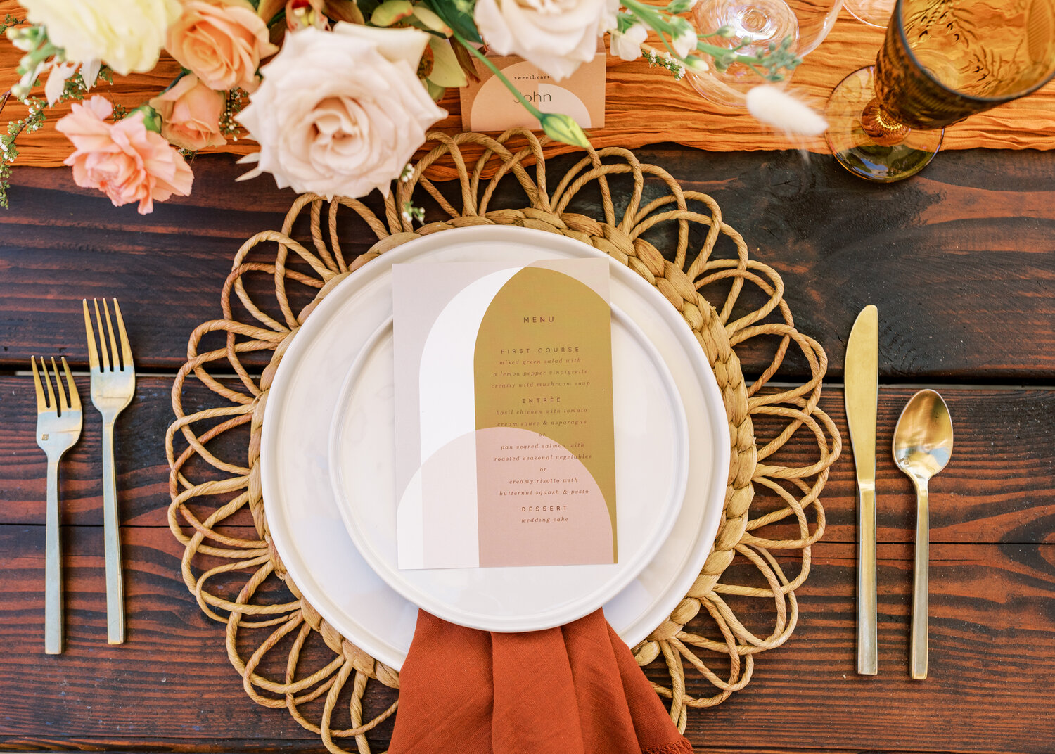 www.santabarbarawedding.com   Events by Fran   Ever After Petite Venue   Kendall Ann Photo   Tangled Lotus   Amigo Party Rentals   Love and Fromage   Reception Place Setting