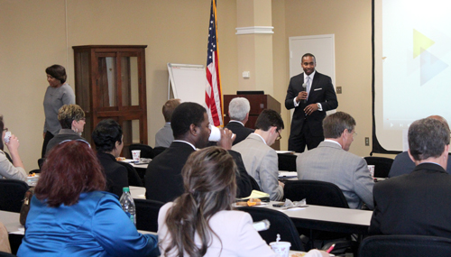 Waymond Jackson, vice president of workforce development at the BBA addresses workforce professionals at the workshop.