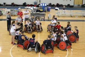 2016 U.S. Paralympic Wheelchair Rugby Team huddles after practice